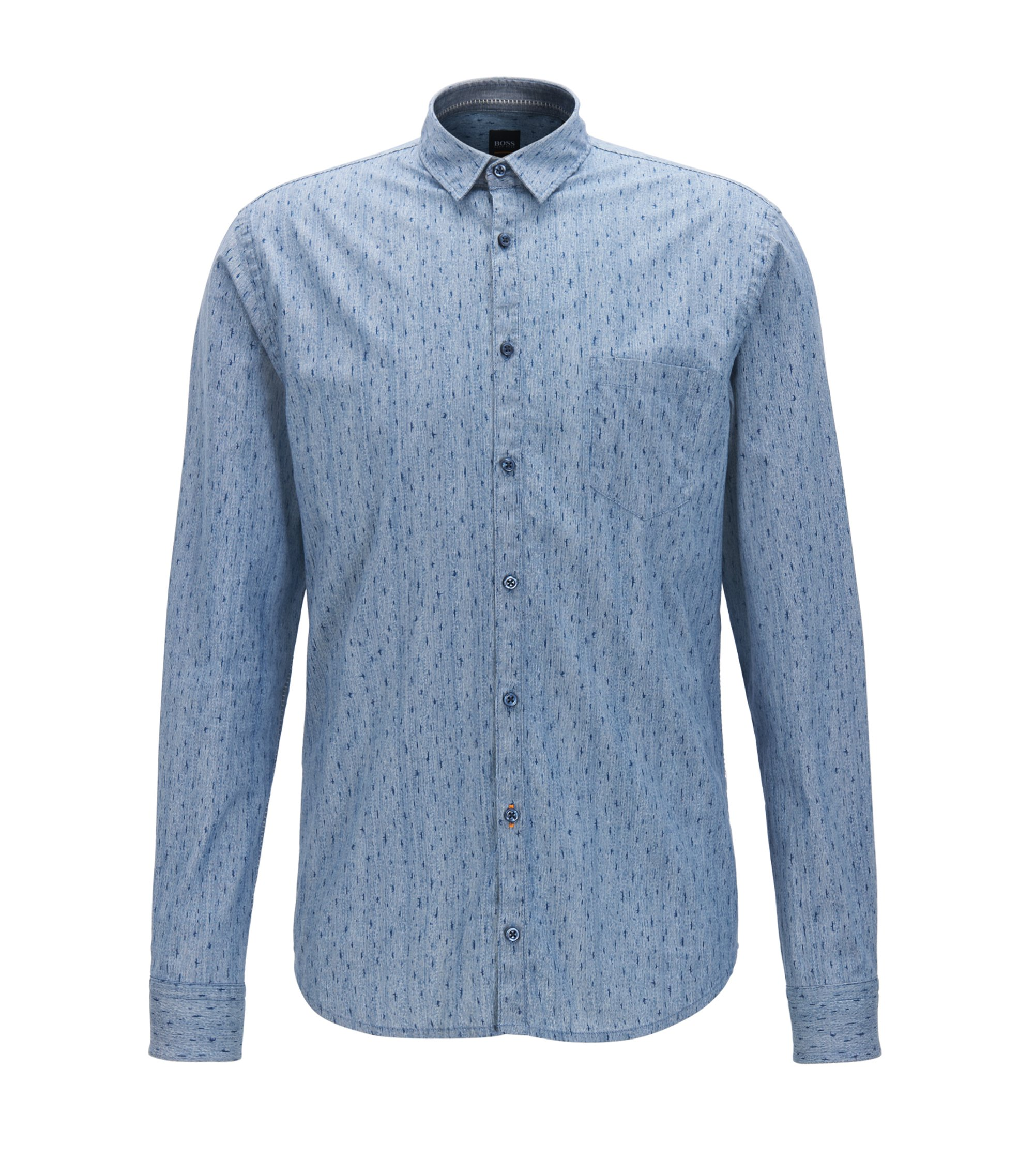 Slim-fit shirt in printed stretch cotton, Dark Blue