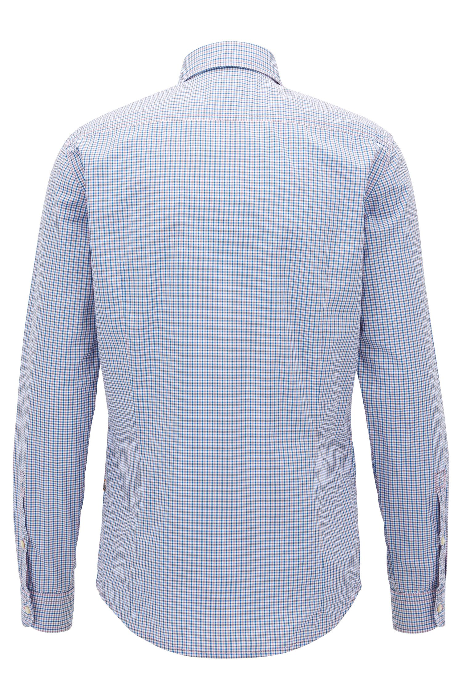 Slim-fit cotton shirt with Vichy check