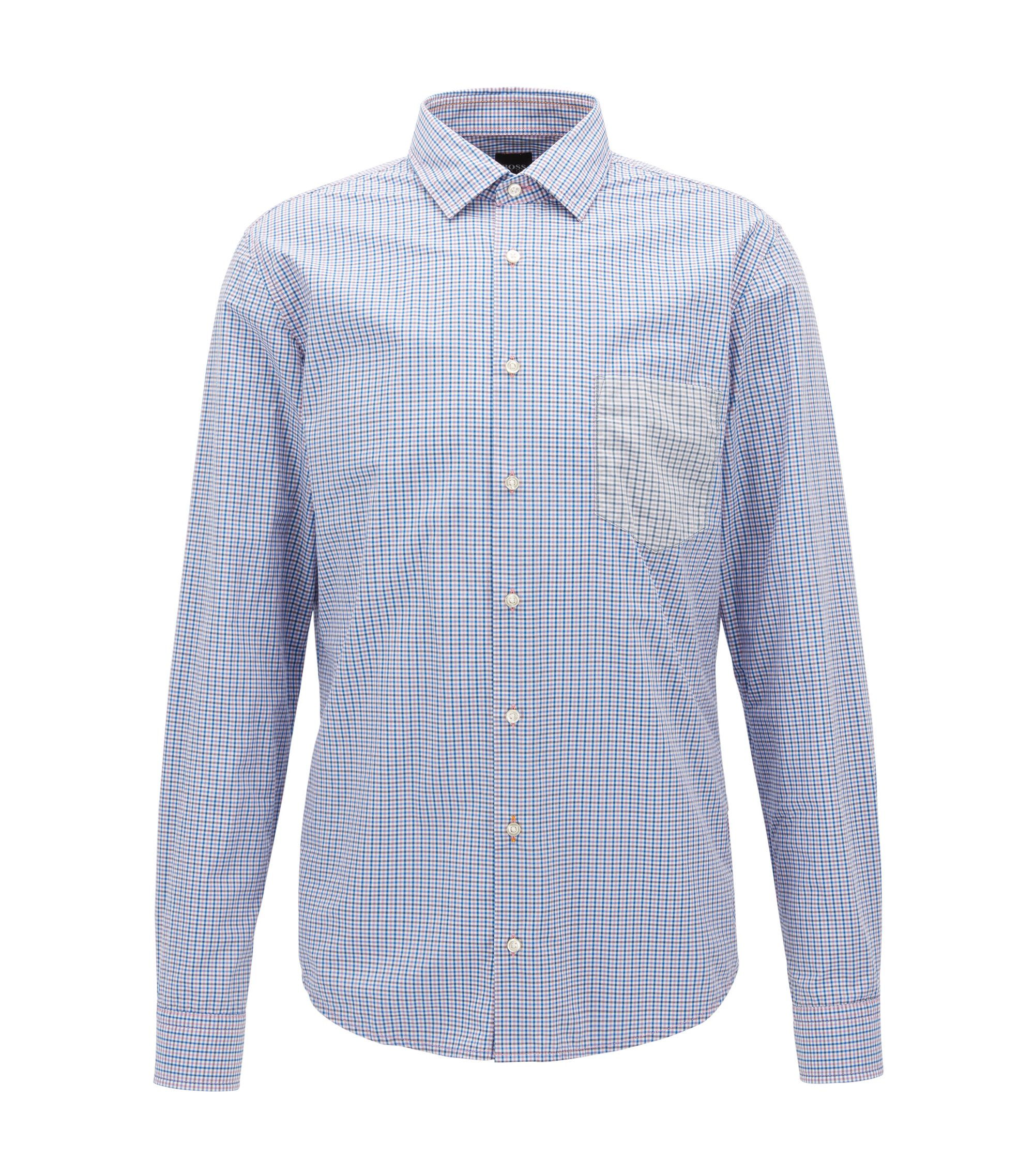 Slim-fit cotton shirt with Vichy check, Dark Blue