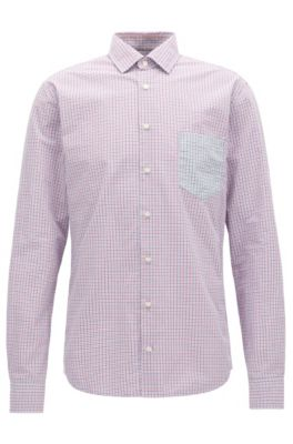 Camisa slim fit en algodón con cuadros Vichy, Púrpura oscuro