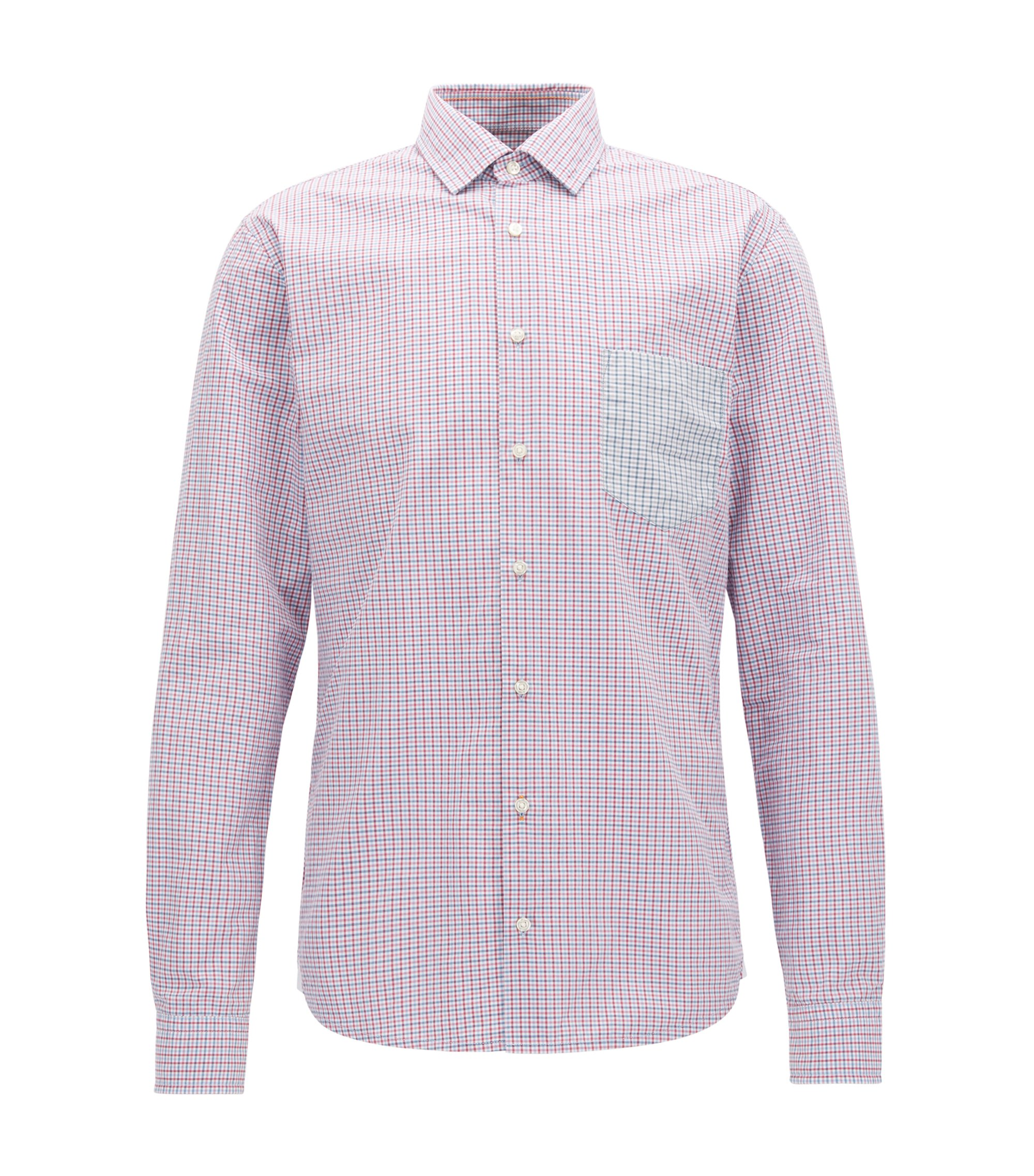 Slim-fit cotton shirt with Vichy check, Dark Purple