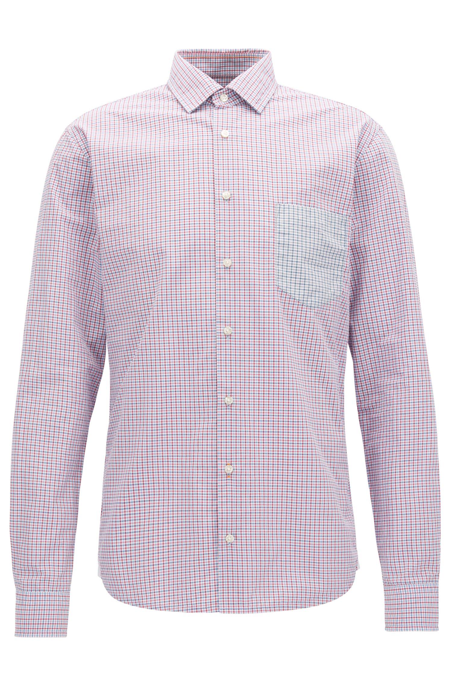 Slim-fit overhemd van katoen met vichyruiten