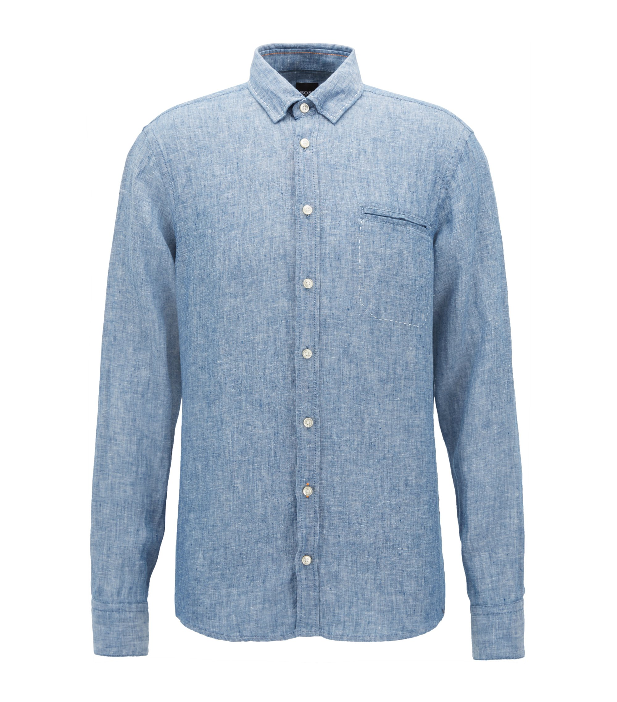 Regular-fit shirt in yarn-dyed linen chambray, Dark Blue