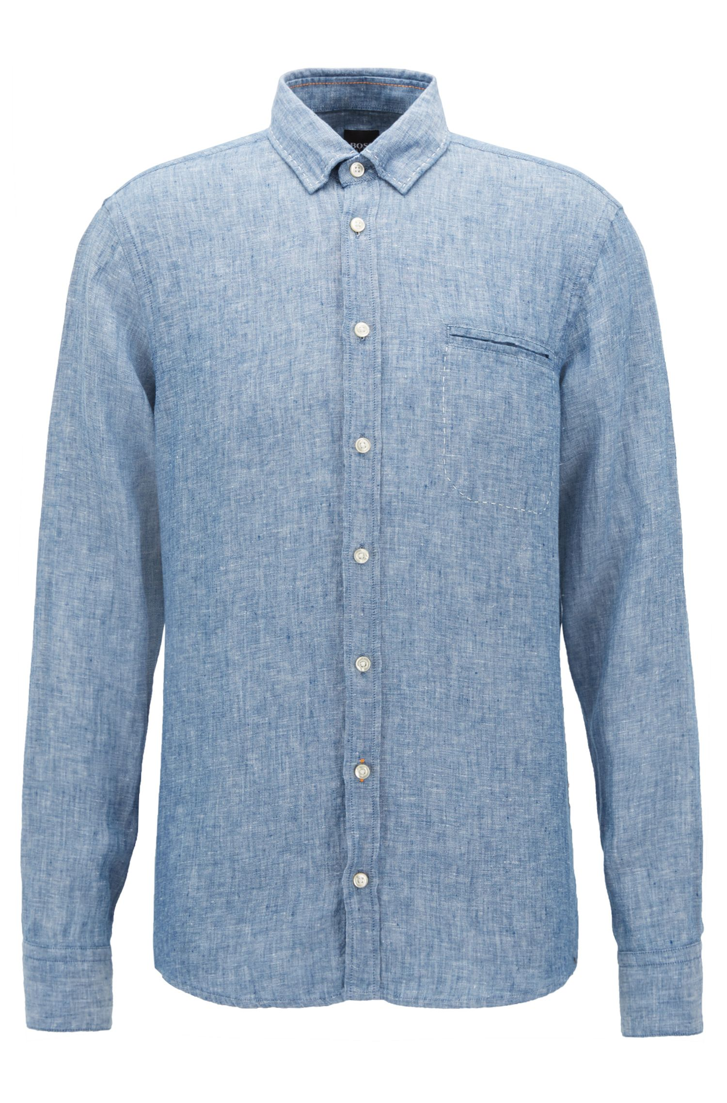 Regular-fit overhemd in een chambray van garengeverfd linnen