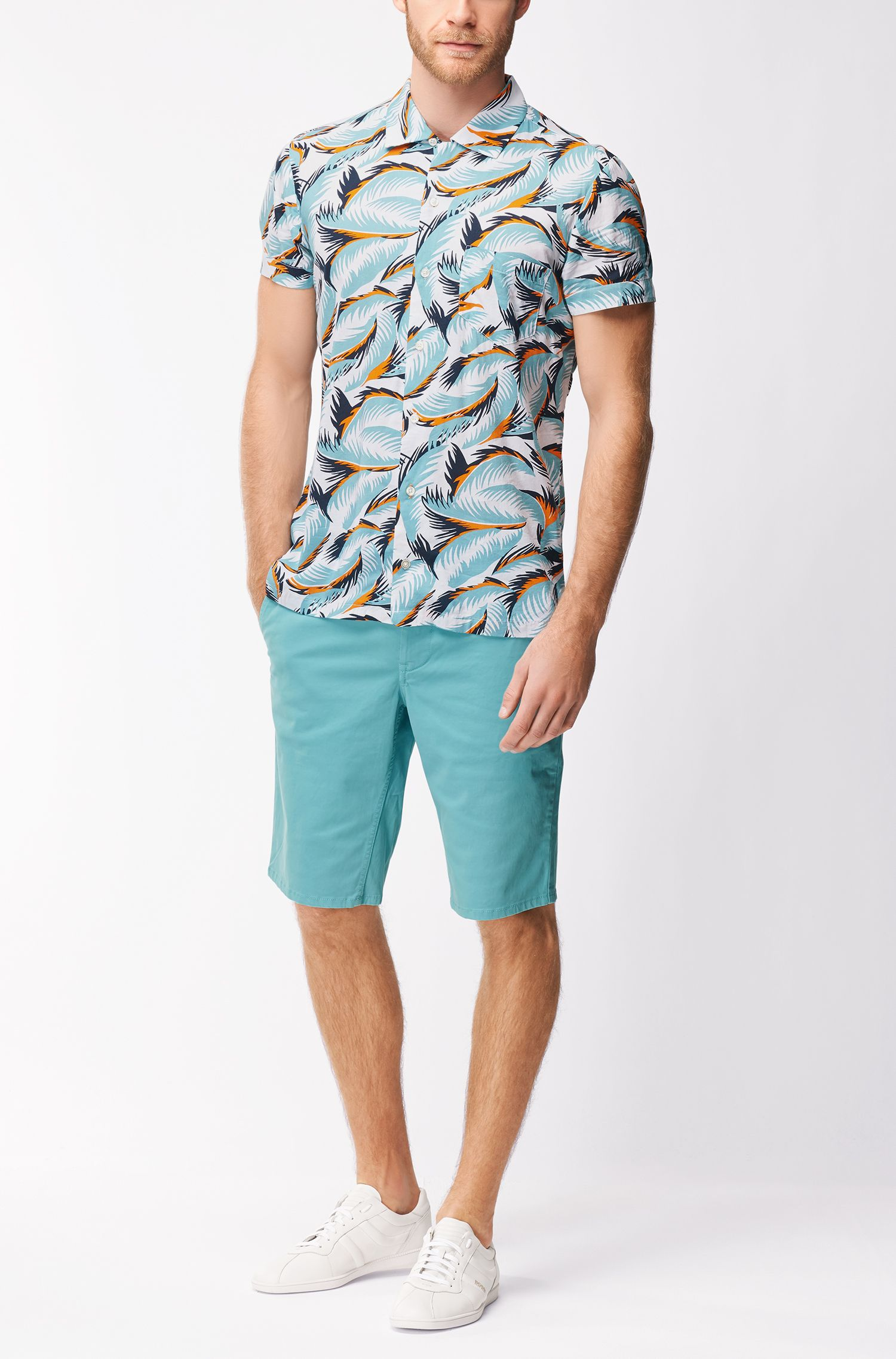 Regular-fit multicoloured leaf-print shirt in a cotton blend