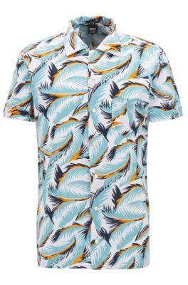 Camicia regular fit policroma in misto cotone con foglie stampate, A disegni