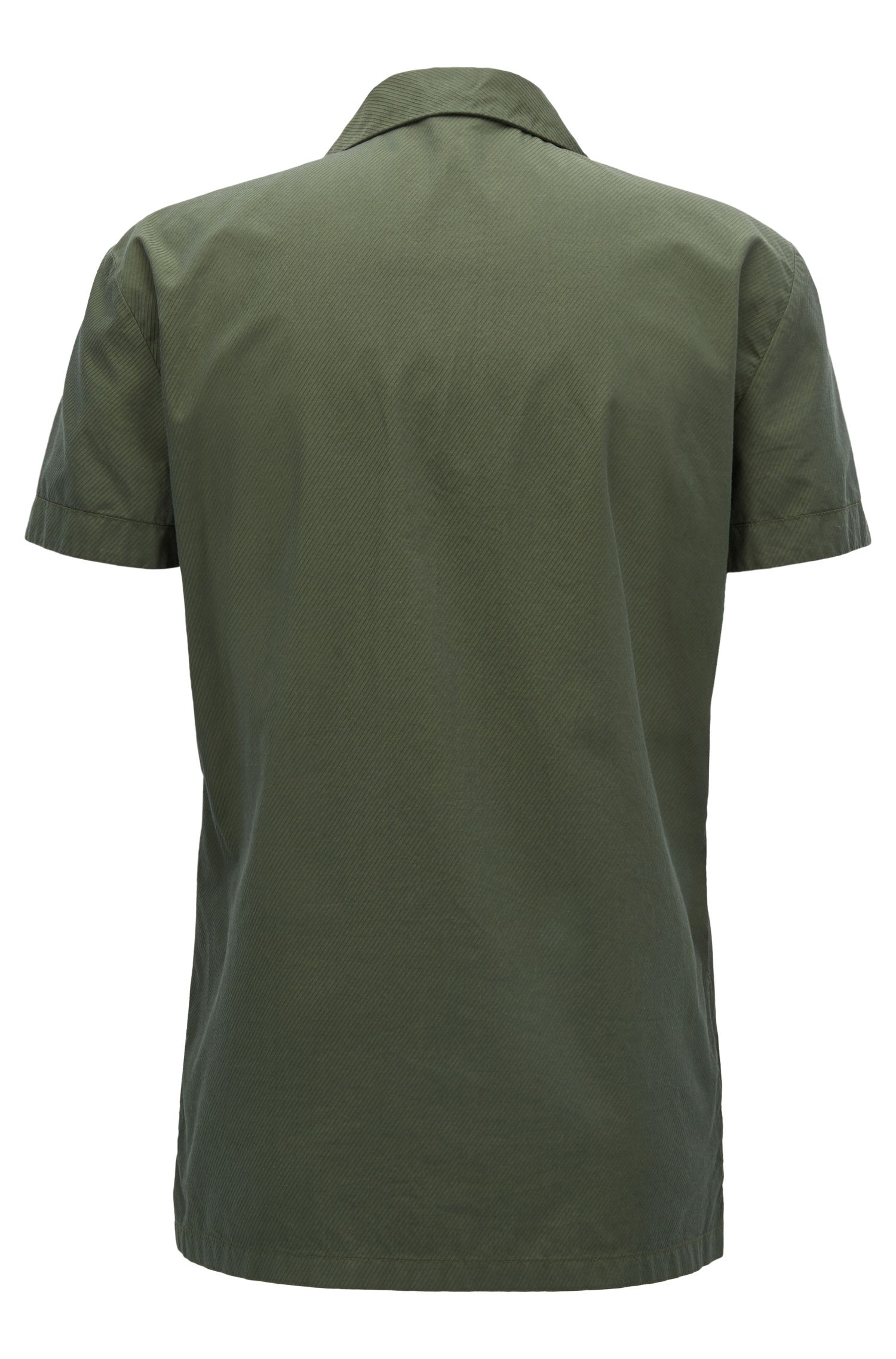 Regular-fit shirt in cotton twill with camp collar