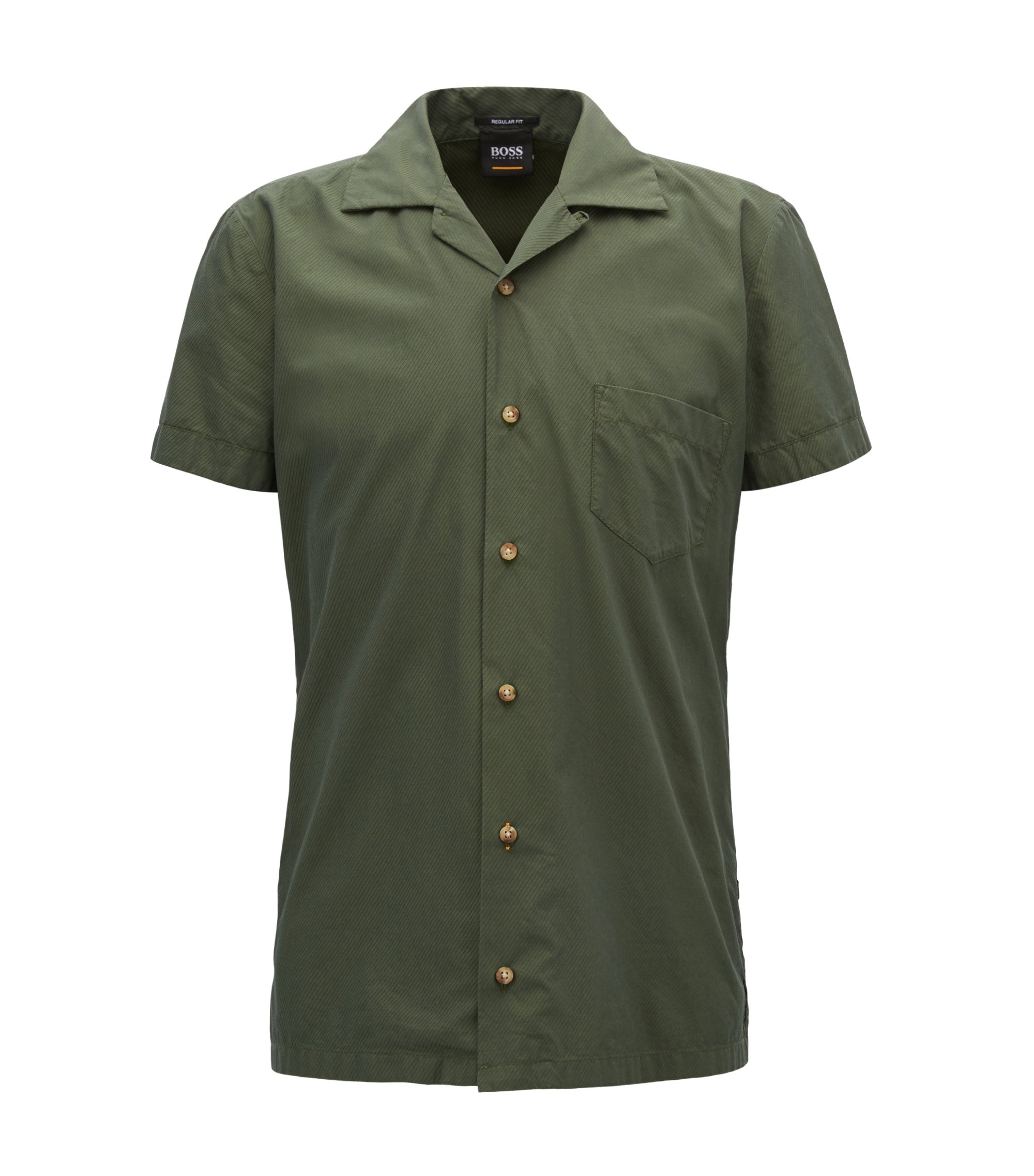 Regular-fit shirt in cotton twill with camp collar, Dark Green