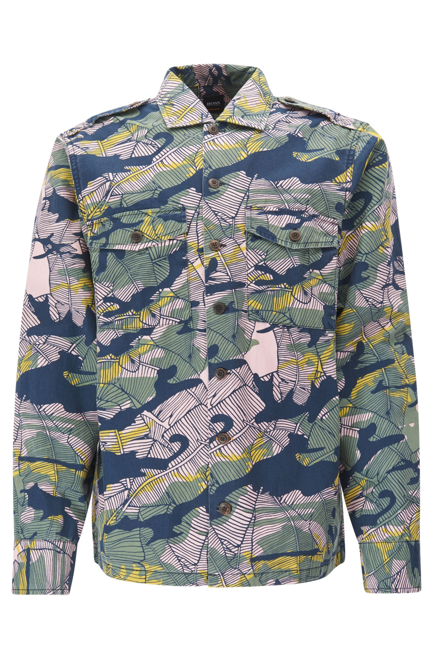 Relaxed-fit cotton shirt in Caribbean-inspired camouflage print