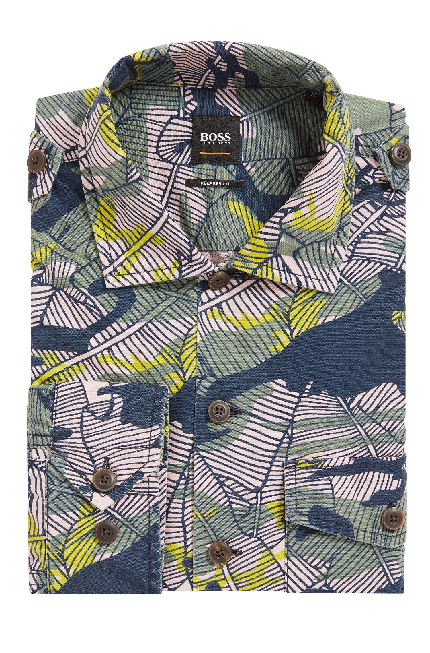 Relaxed-fit cotton shirt in Caribbean-inspired camouflage print BOSS
