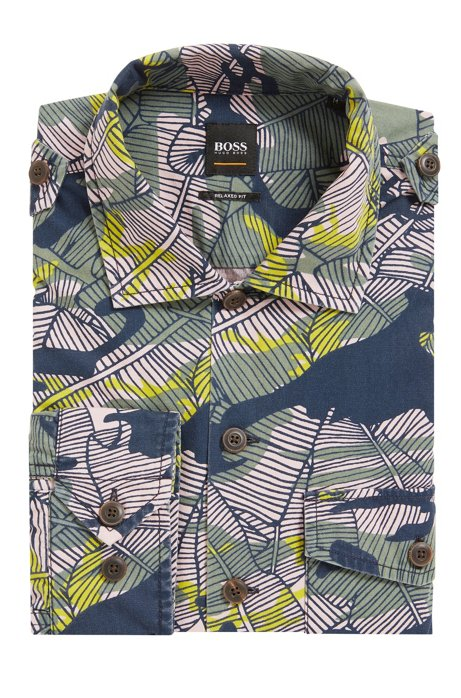 Relaxed-fit cotton shirt in Caribbean-inspired camouflage print BOSS Fake c1T7j