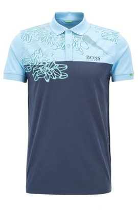 Colourblock polo shirt in pure cotton, Light Blue