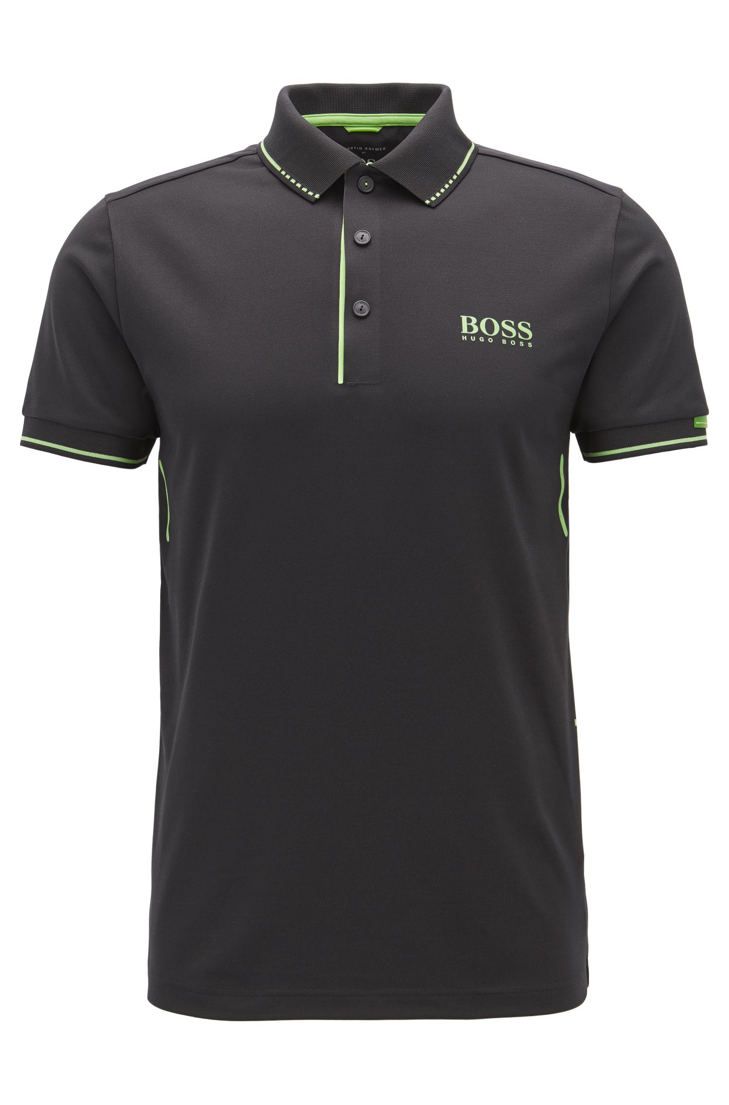 Slim-Fit Poloshirt aus elastischem Material-Mix