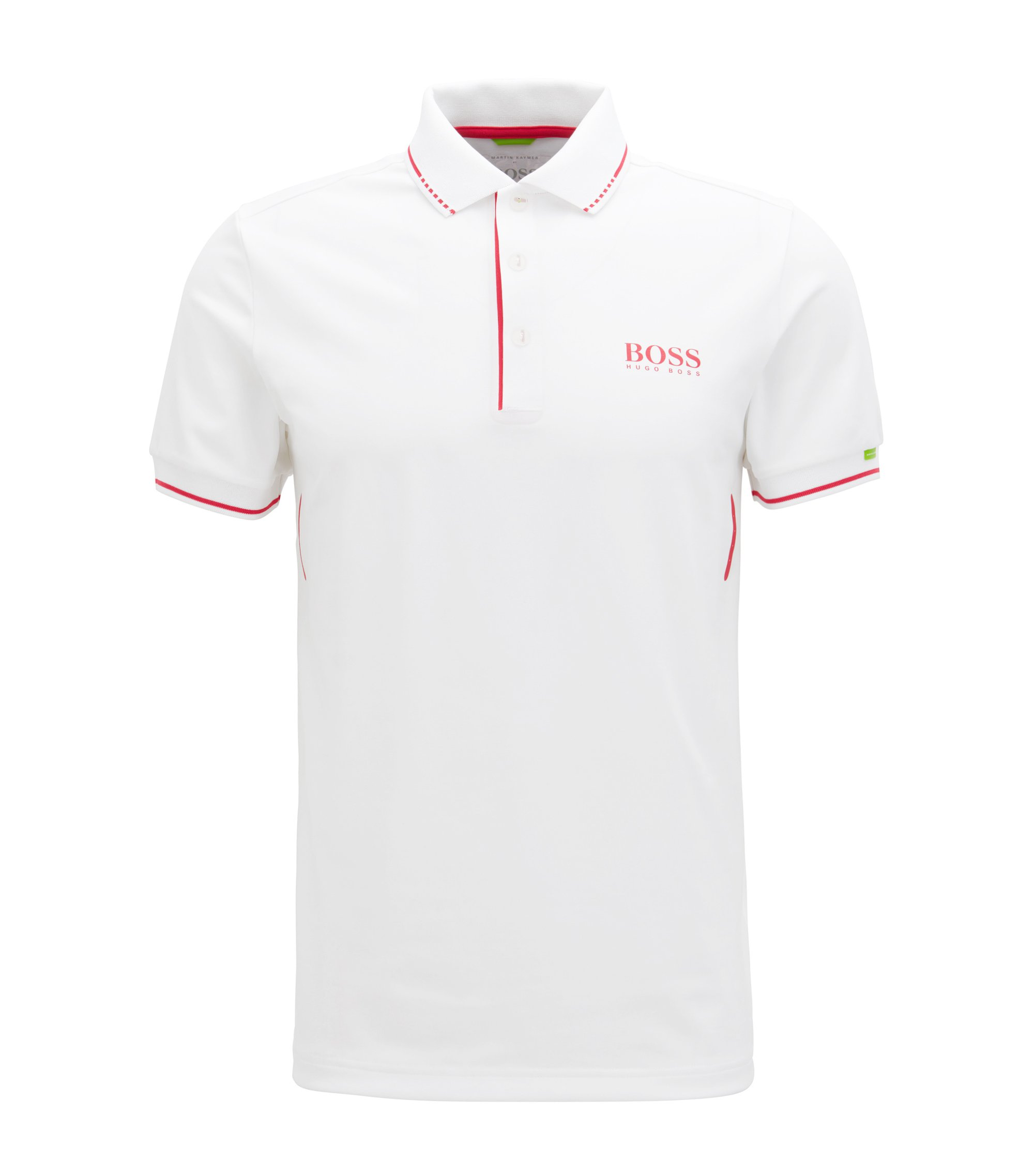 Slim-fit polo shirt in technical stretch fabric, White