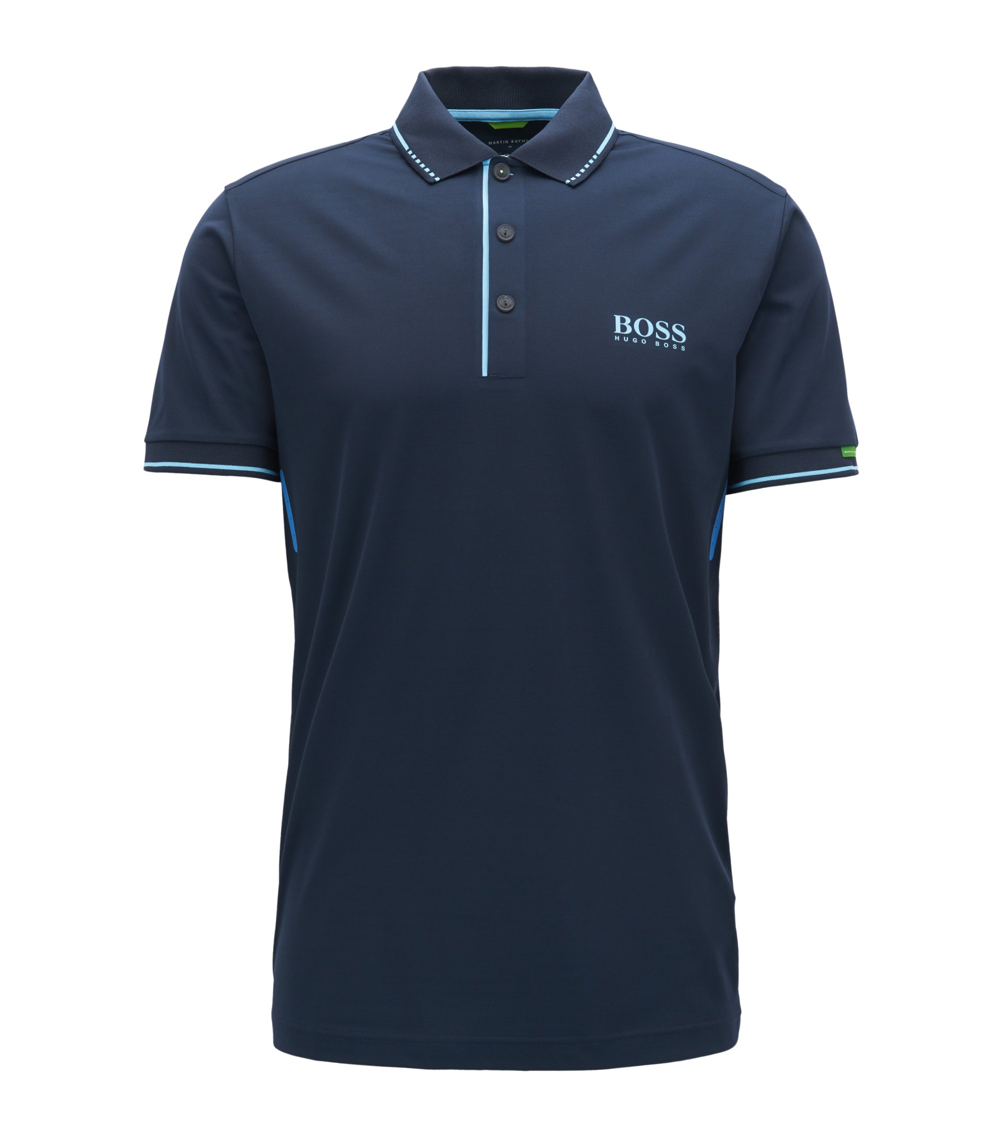 Slim-fit polo shirt in technical stretch fabric, Dark Blue