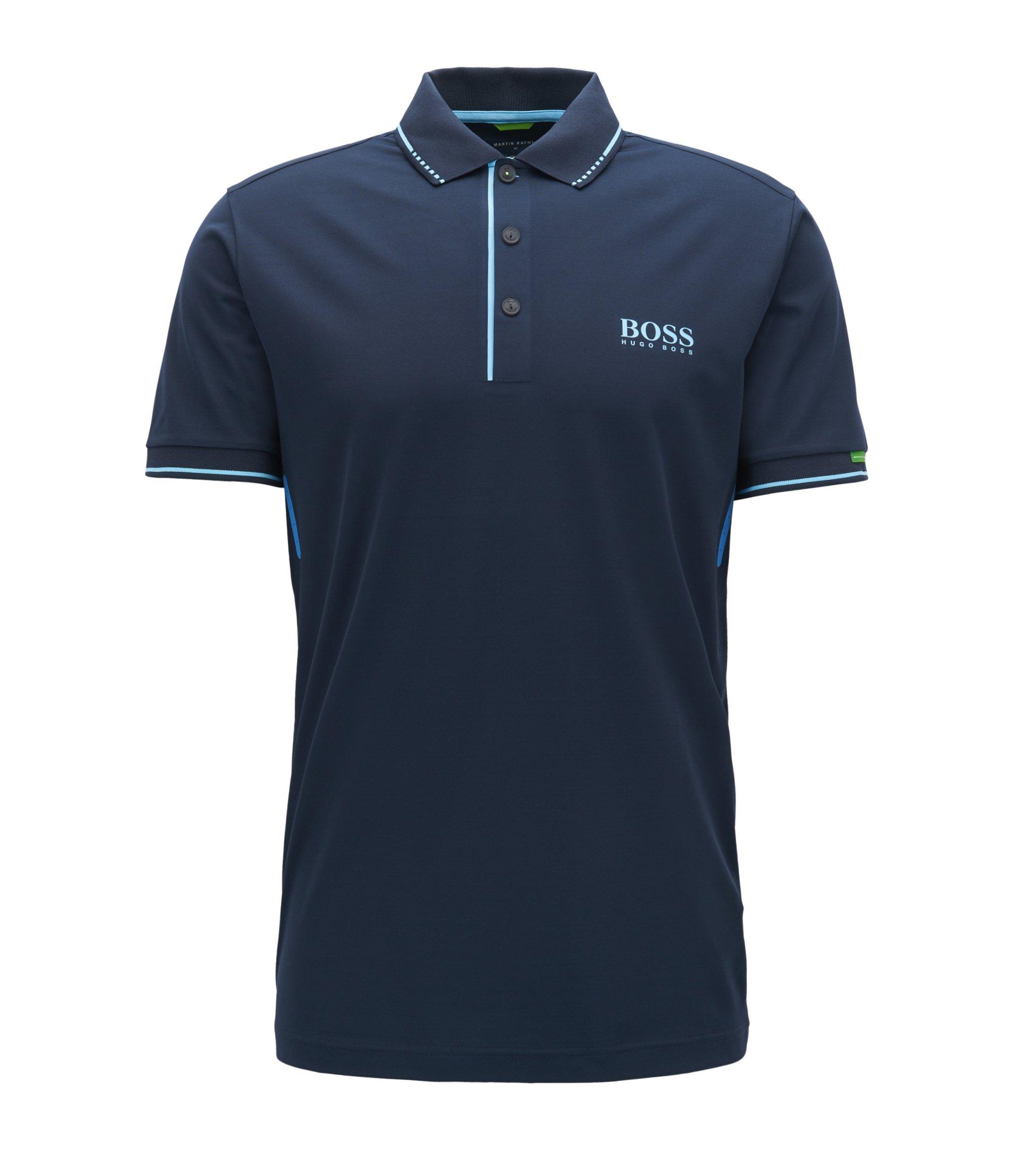 Slim-Fit Poloshirt aus elastischem Material-Mix, Dunkelblau