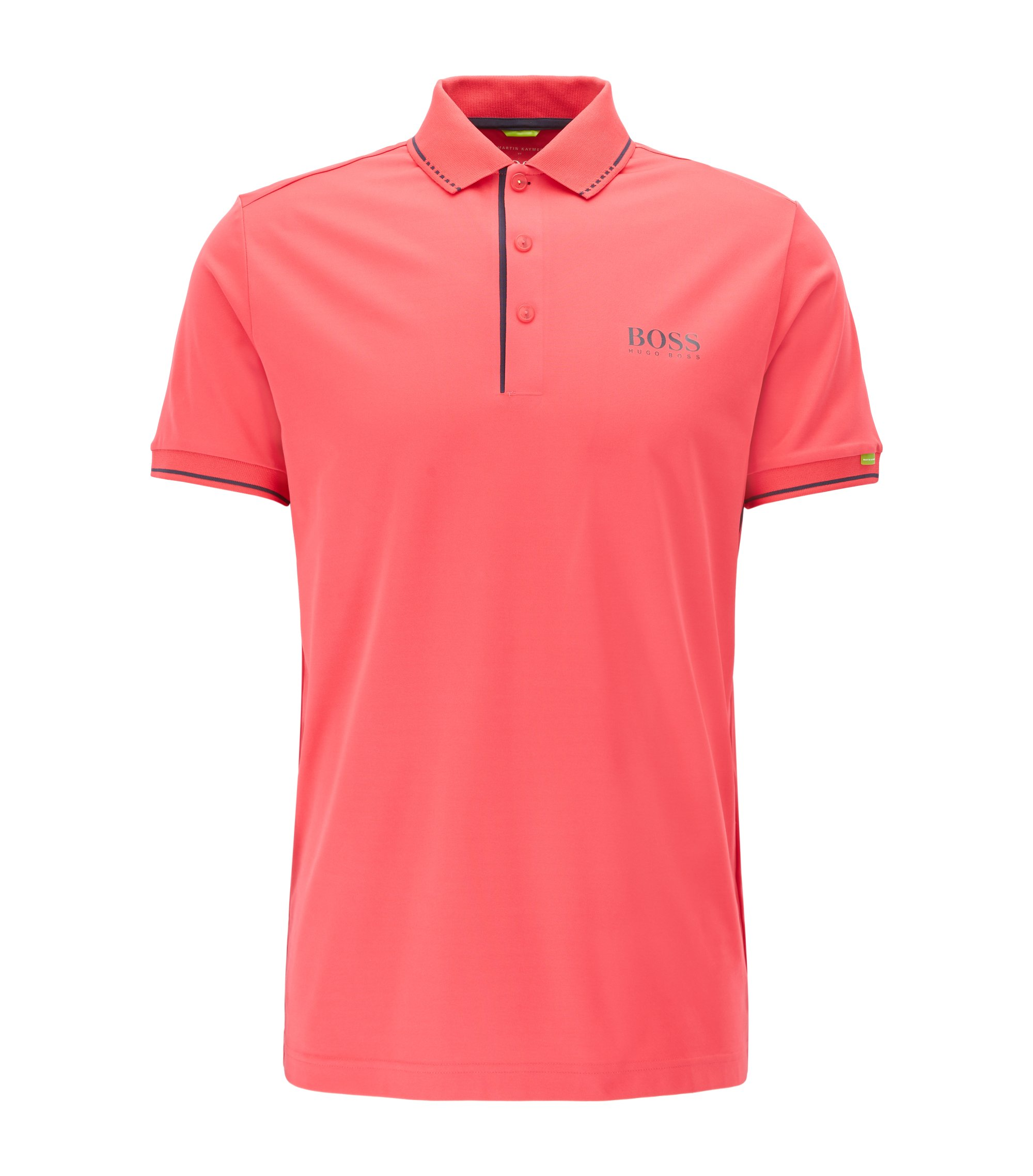 Slim-fit polo shirt in technical stretch fabric, Pink
