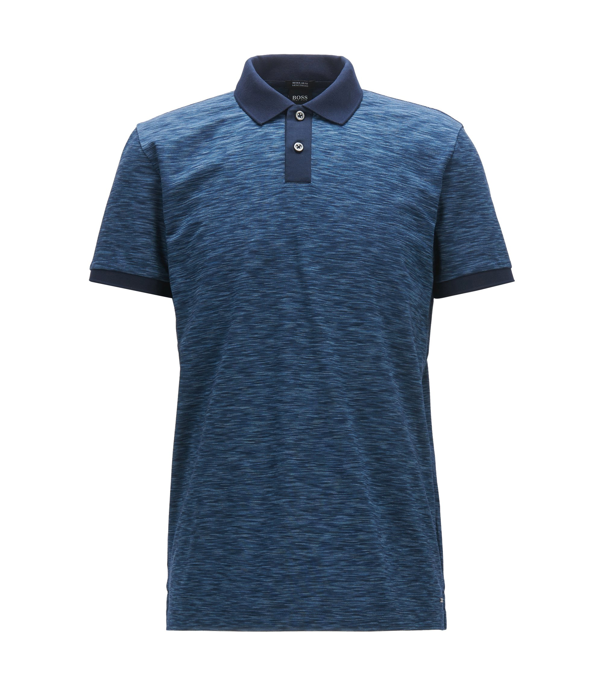 Regular-fit polo shirt in space-dyed cotton piqué, Dark Blue