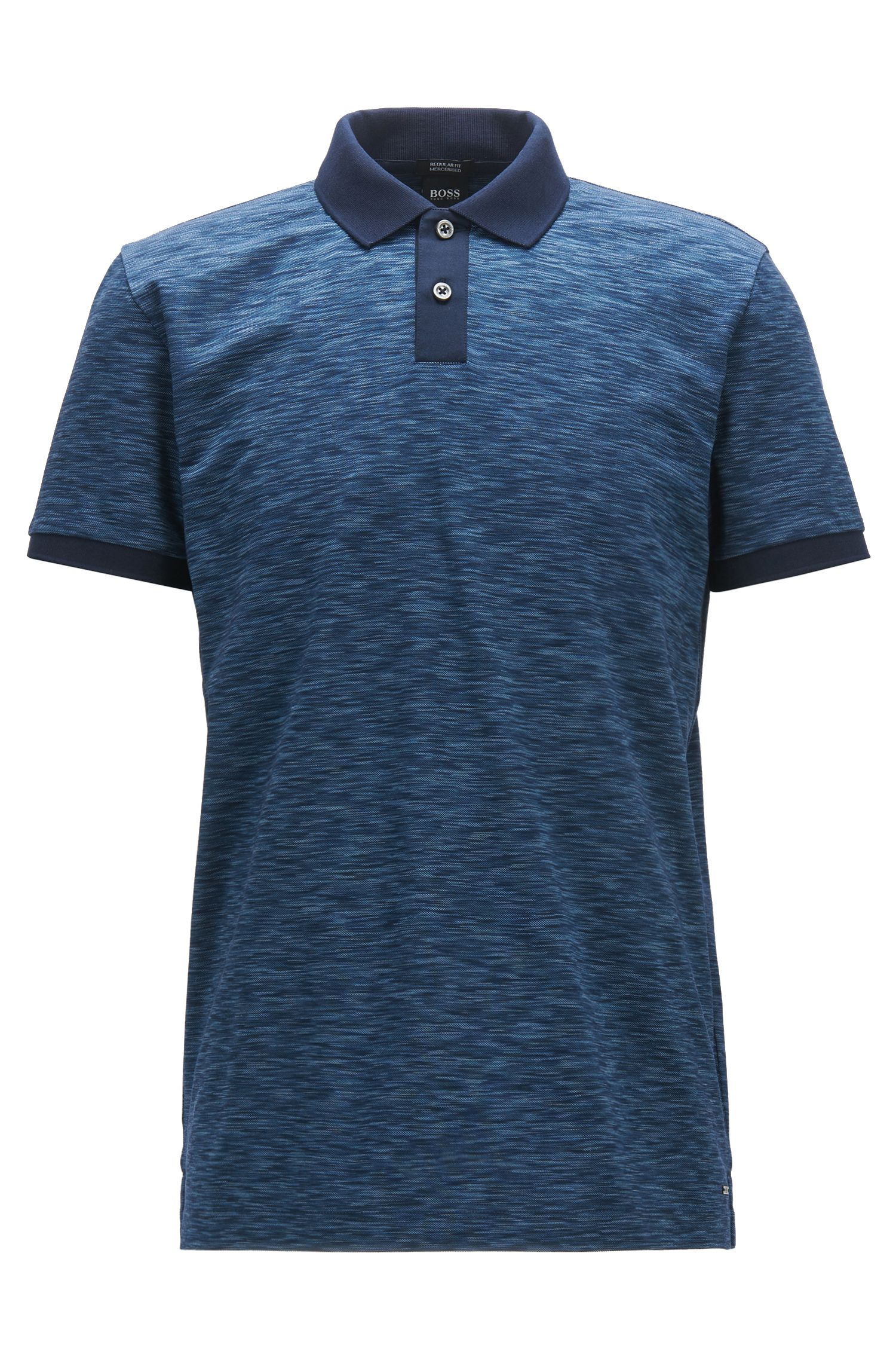 Regular-fit polo shirt in space-dyed cotton piqué