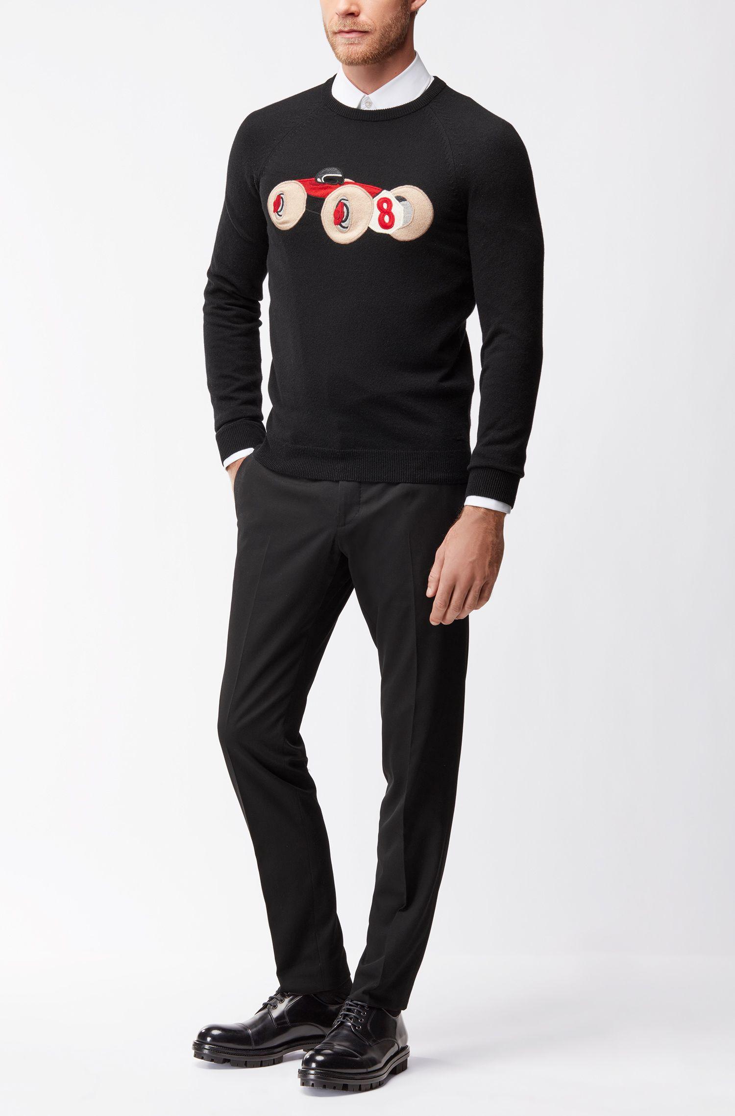 Wool-blend sweater with intarsia race car motif