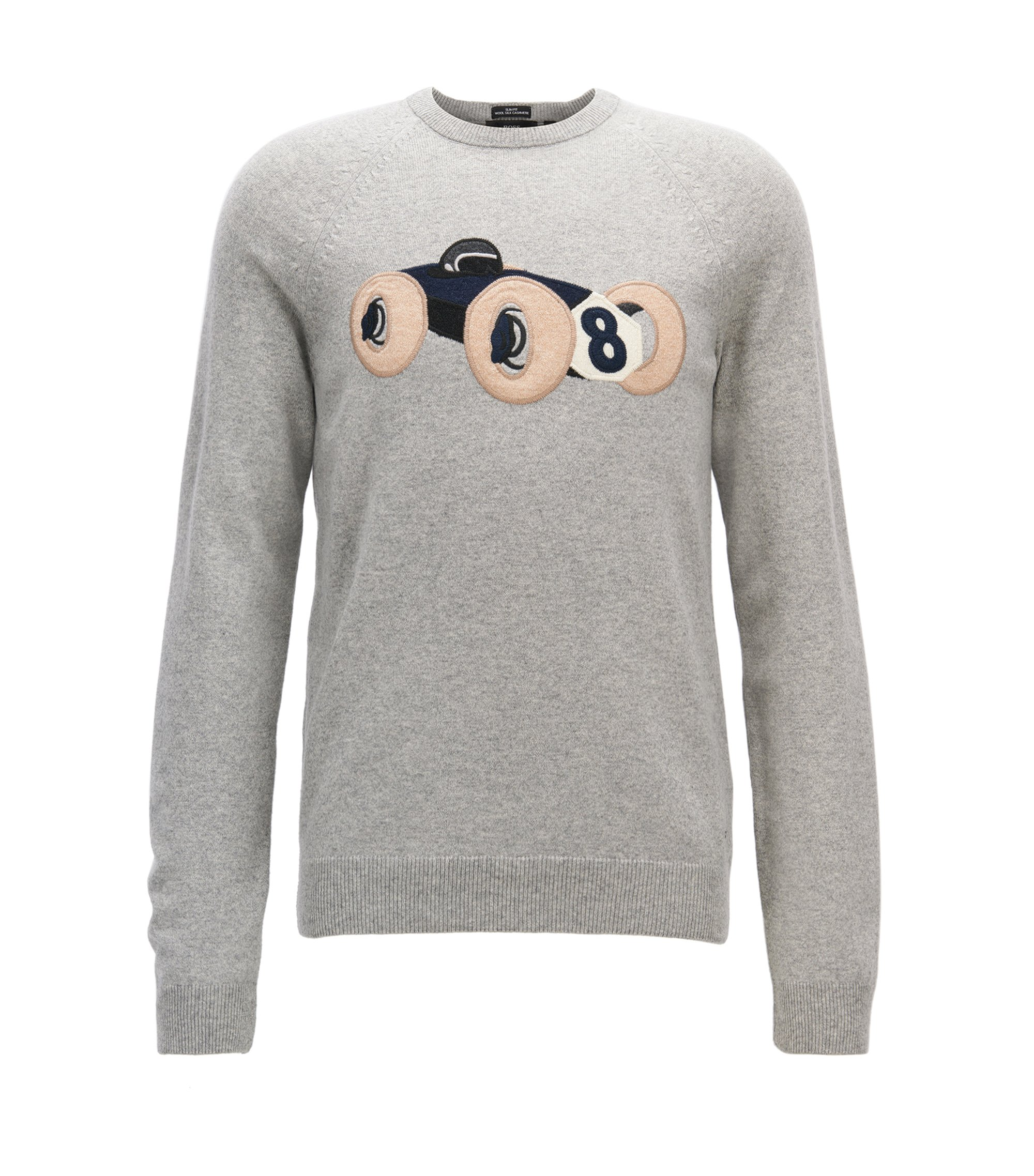 Wool-blend sweater with intarsia race car motif, Light Grey