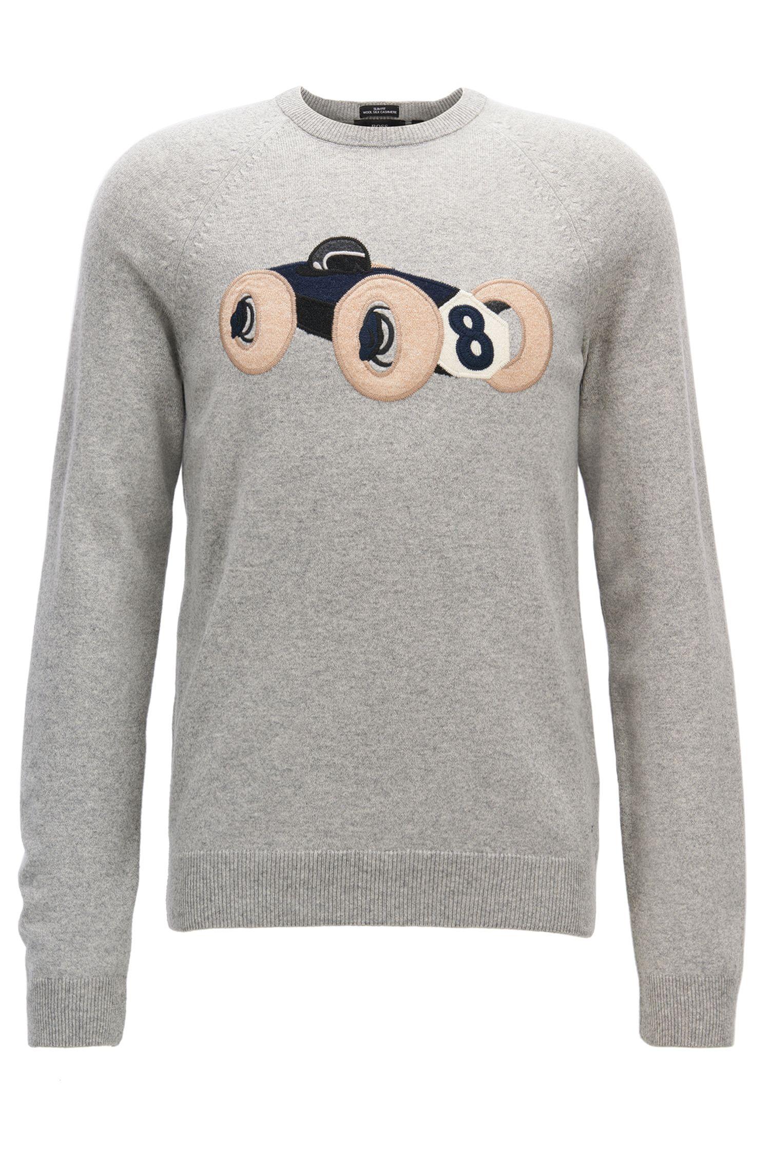 Maglione in misto lana con auto da corsa a intarsio