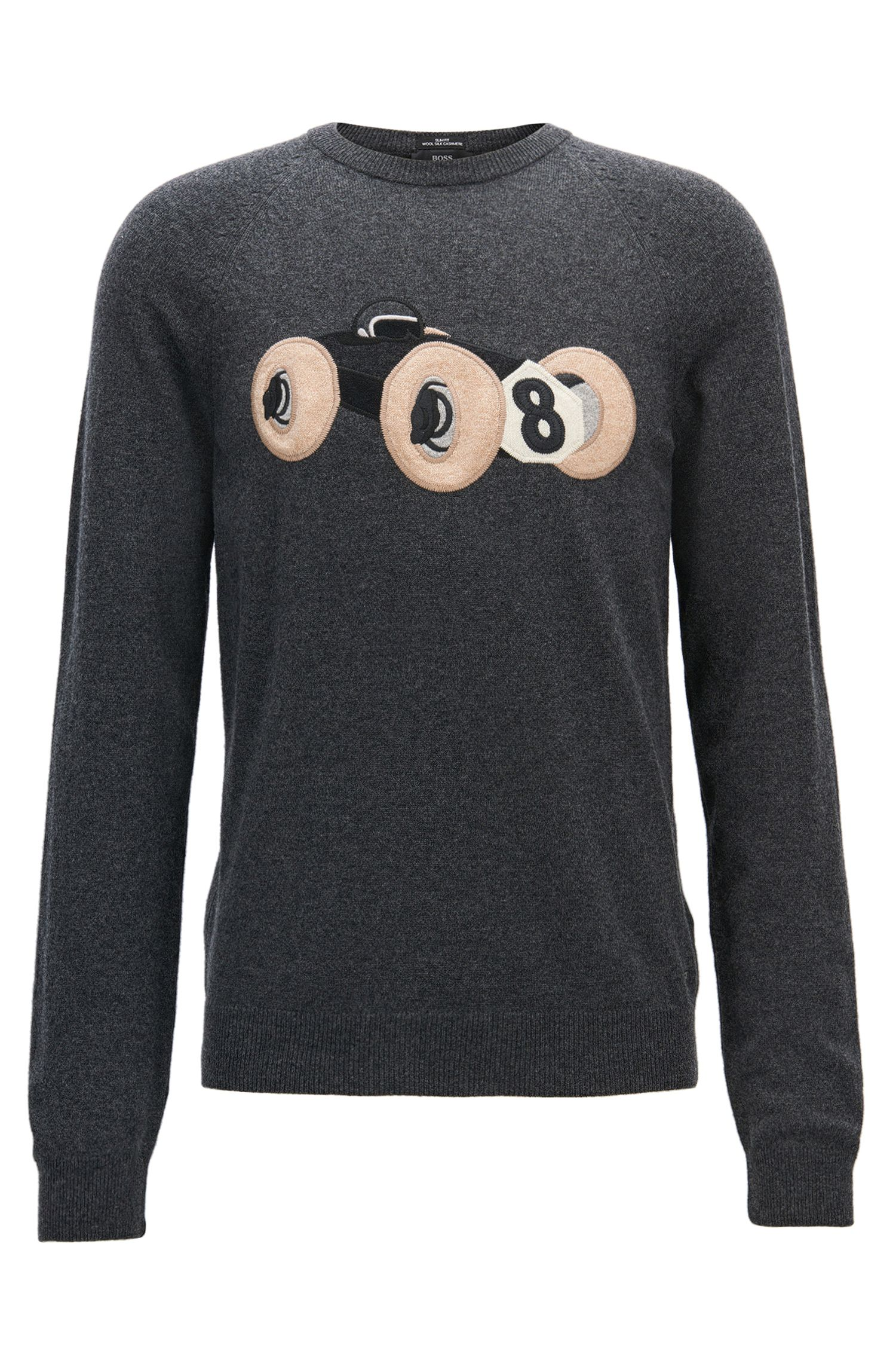 Wool-blend sweater with intarsia race car motif