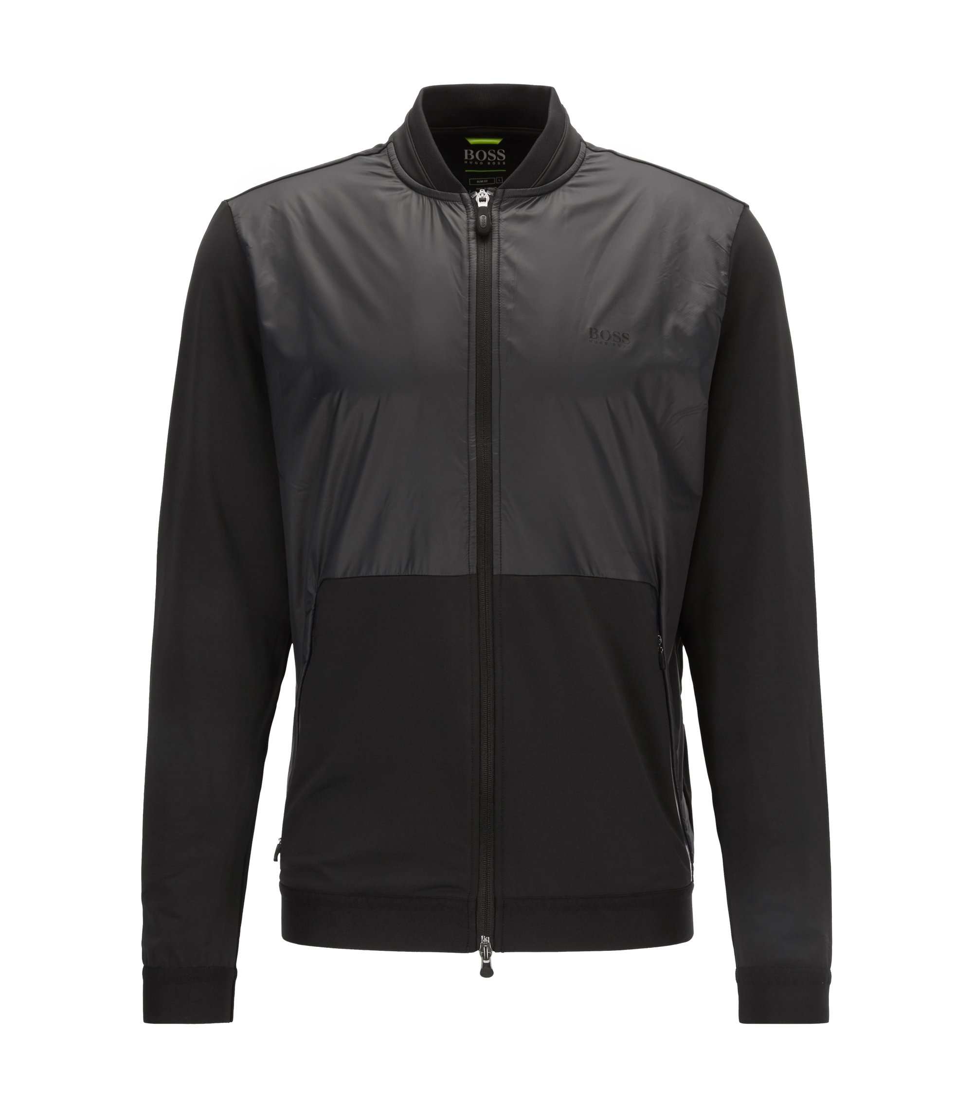 Zip-through jacket in technical fabric with S.Café®, Black