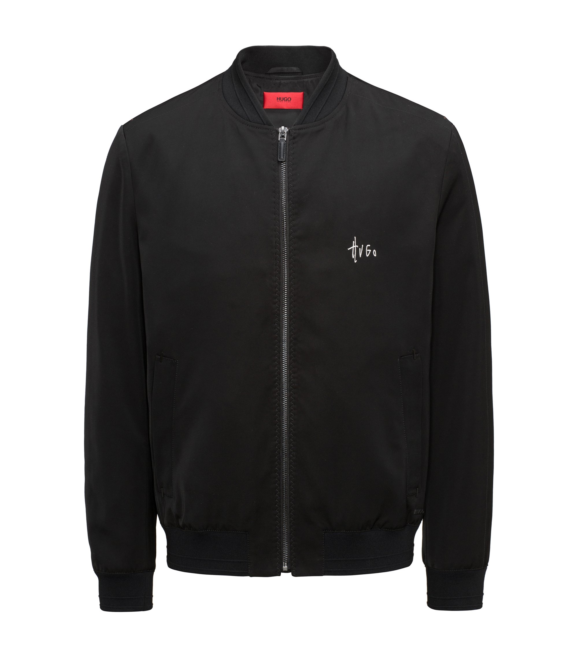 Slim-Fit Bomberjacke aus Material-Mix mit Teflon™-Finish, Schwarz