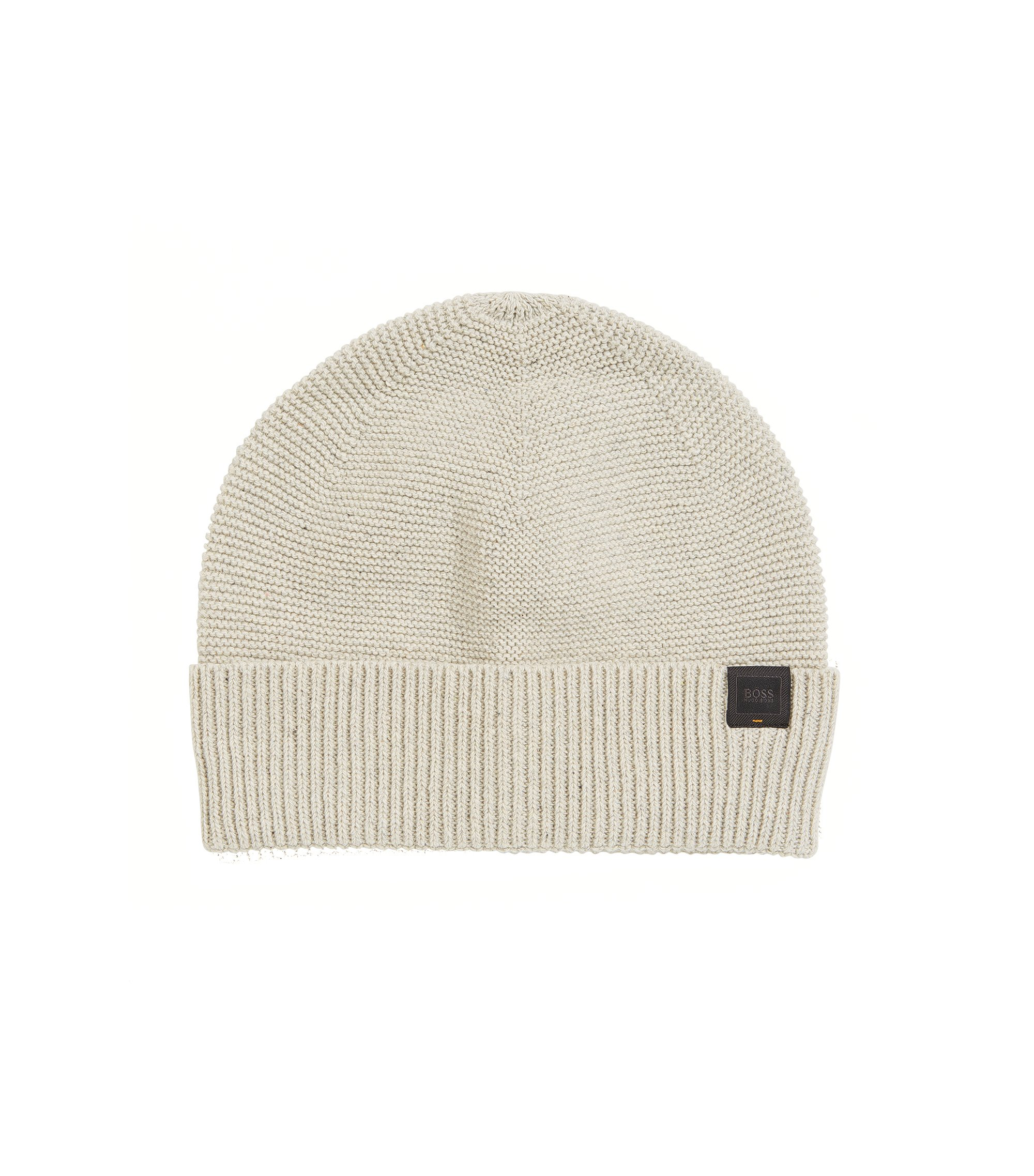 Italian-made knitted beanie hat in a cotton blend, Natural