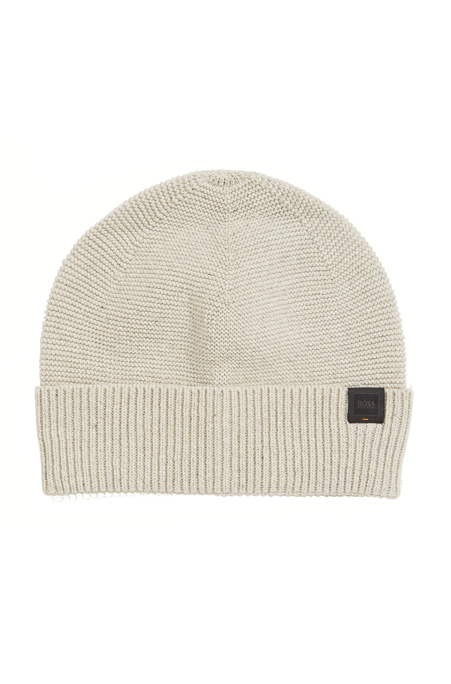 Italian-made knitted beanie hat in a cotton blend
