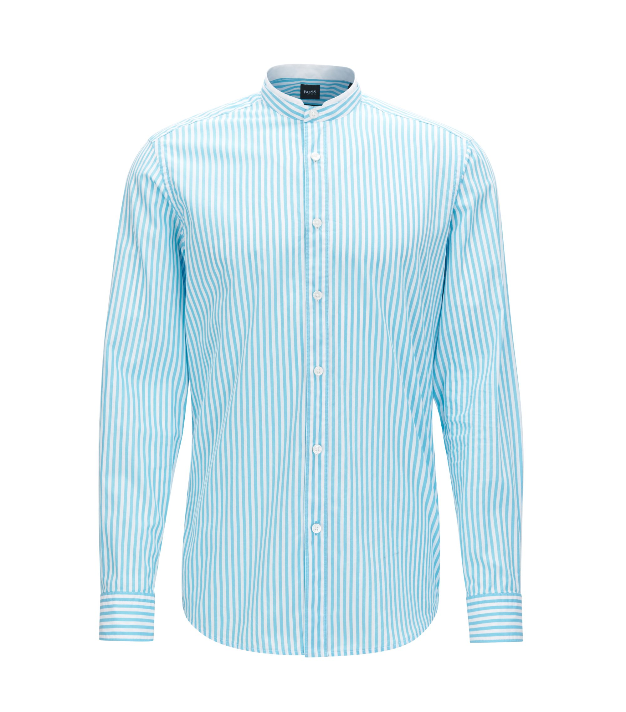 Camicia regular fit in popeline di cotone mercerizzato , Celeste