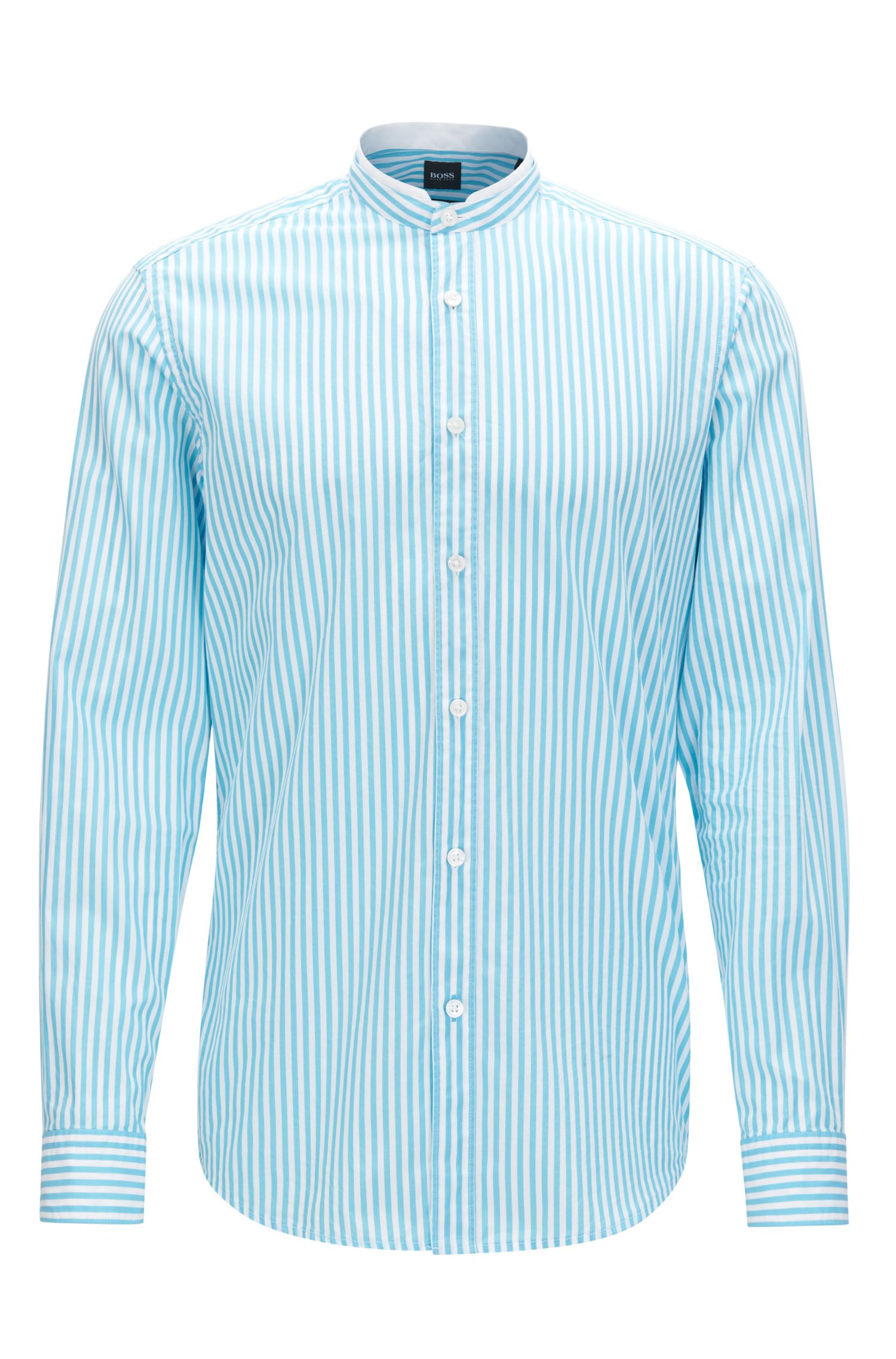 Camisa regular fit en popelín de algodón mercerizado