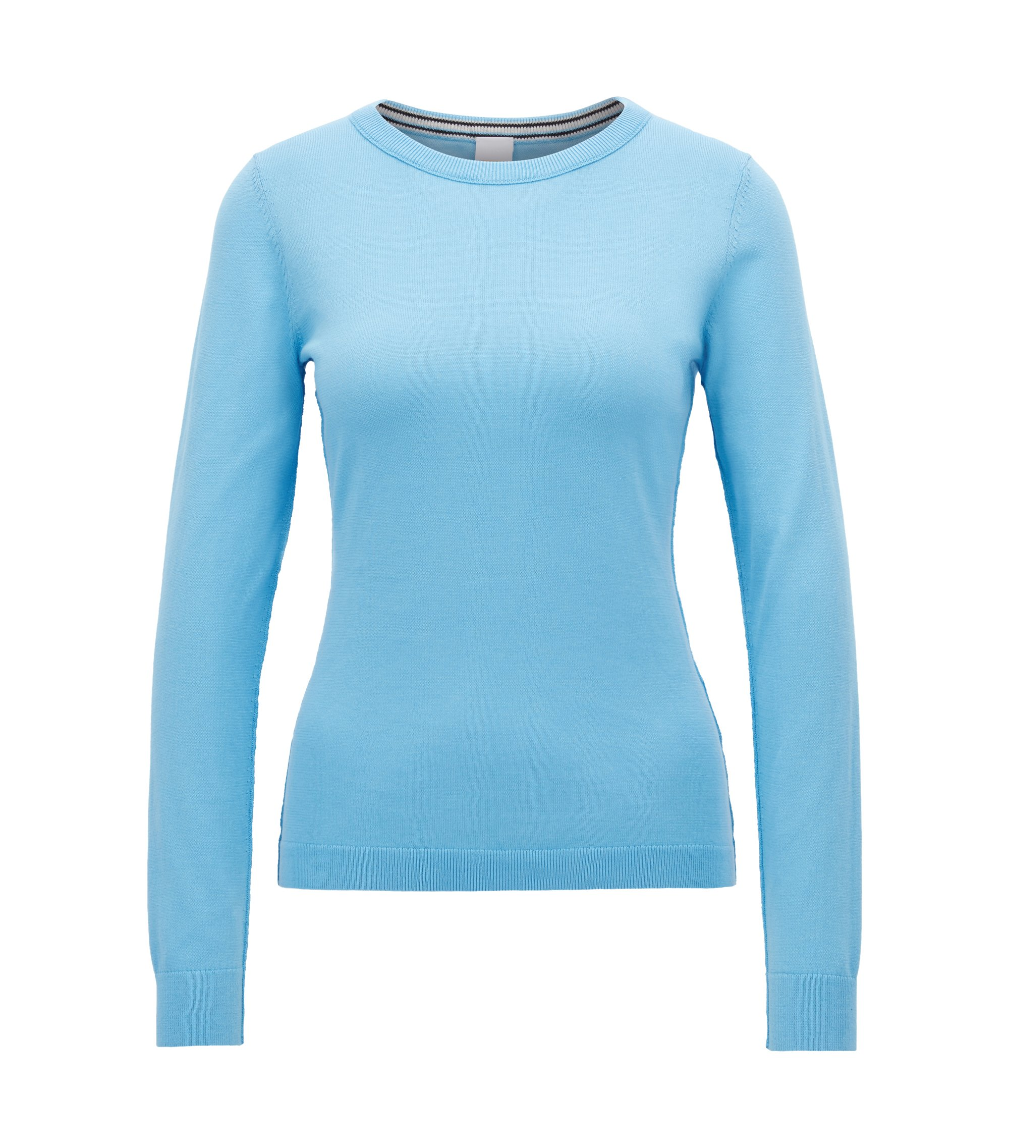 Knitted sweater in a cotton blend with silk, Light Blue