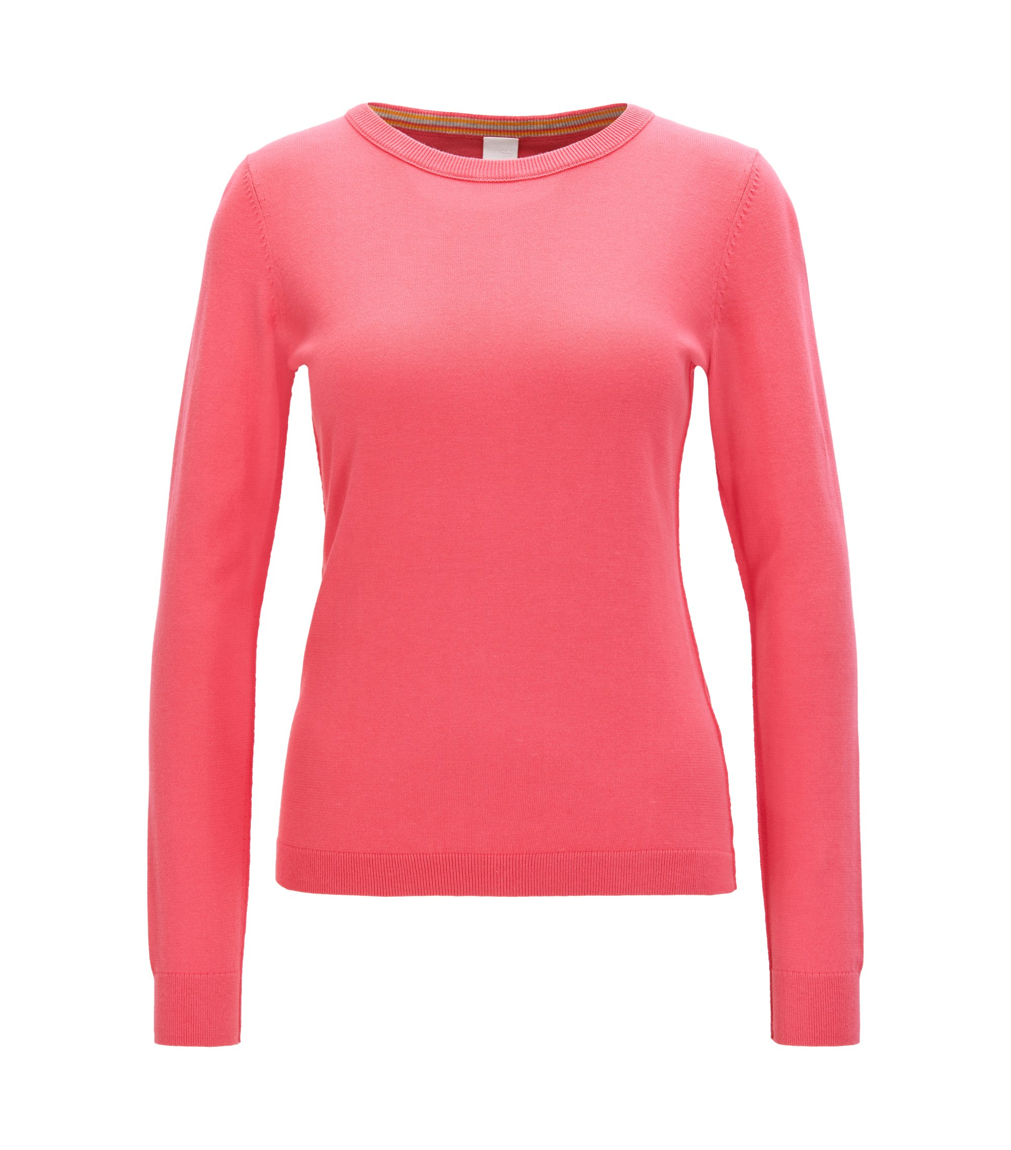 Knitted sweater in a cotton blend with silk, Pink