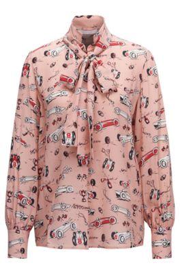 Regular-fit blouse van zijde met print en lushals, Bedrukt