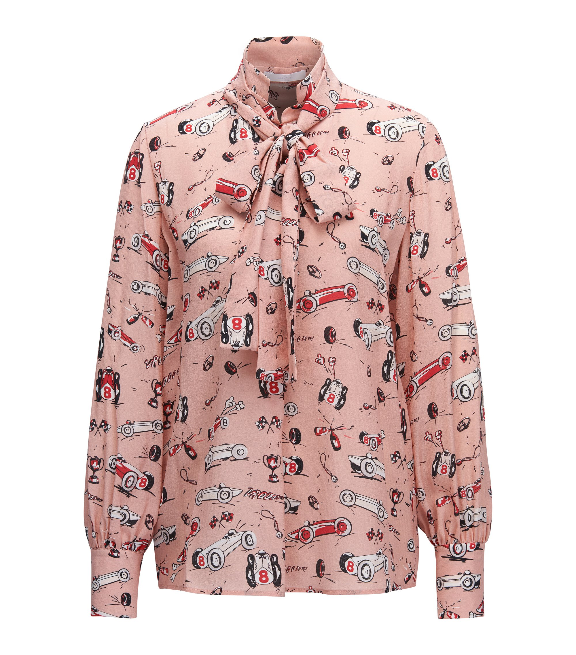 Regular-fit printed silk blouse with bow neckline, Patterned