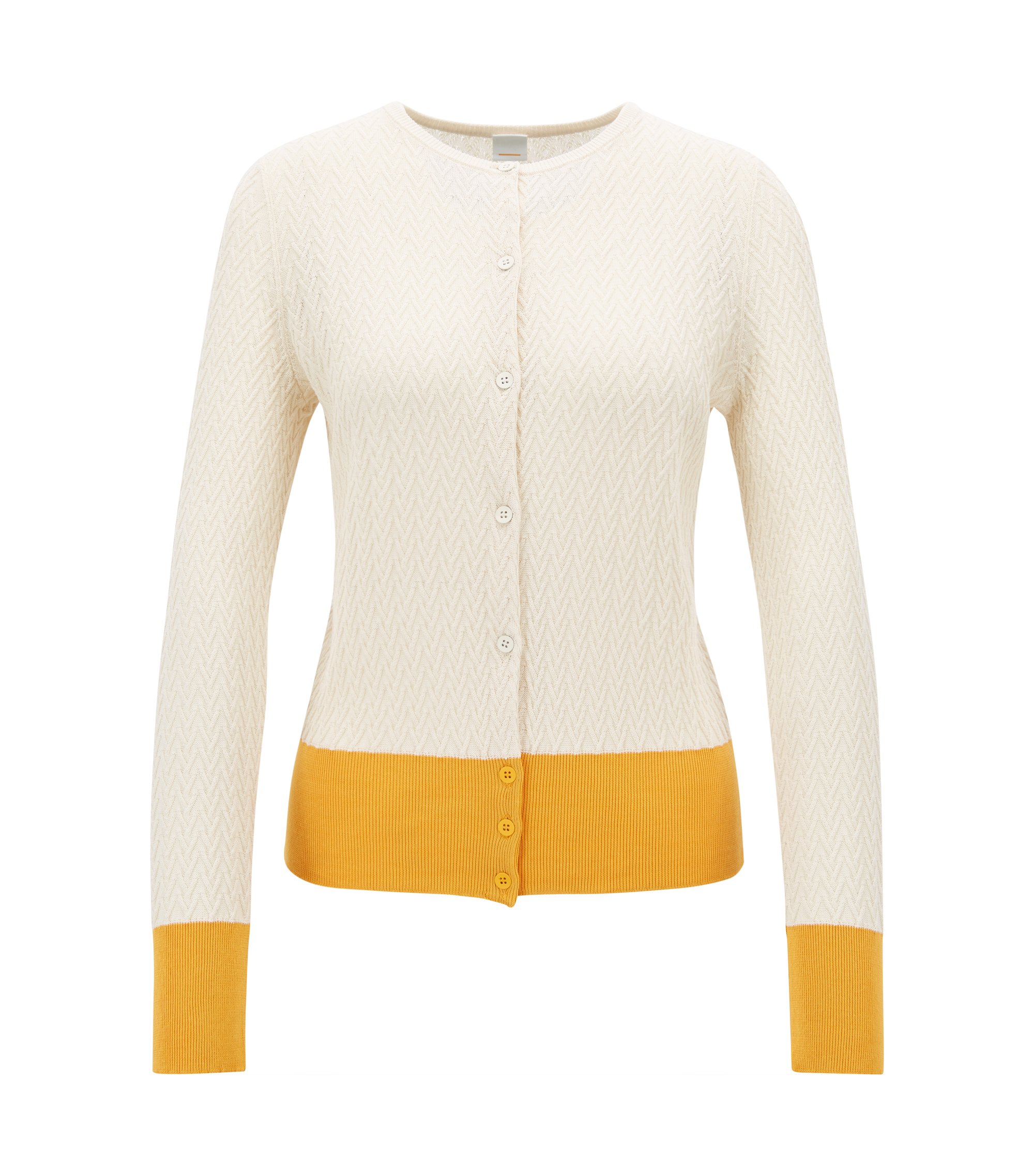 Cropped colourblock cardigan in a cotton blend, Natural