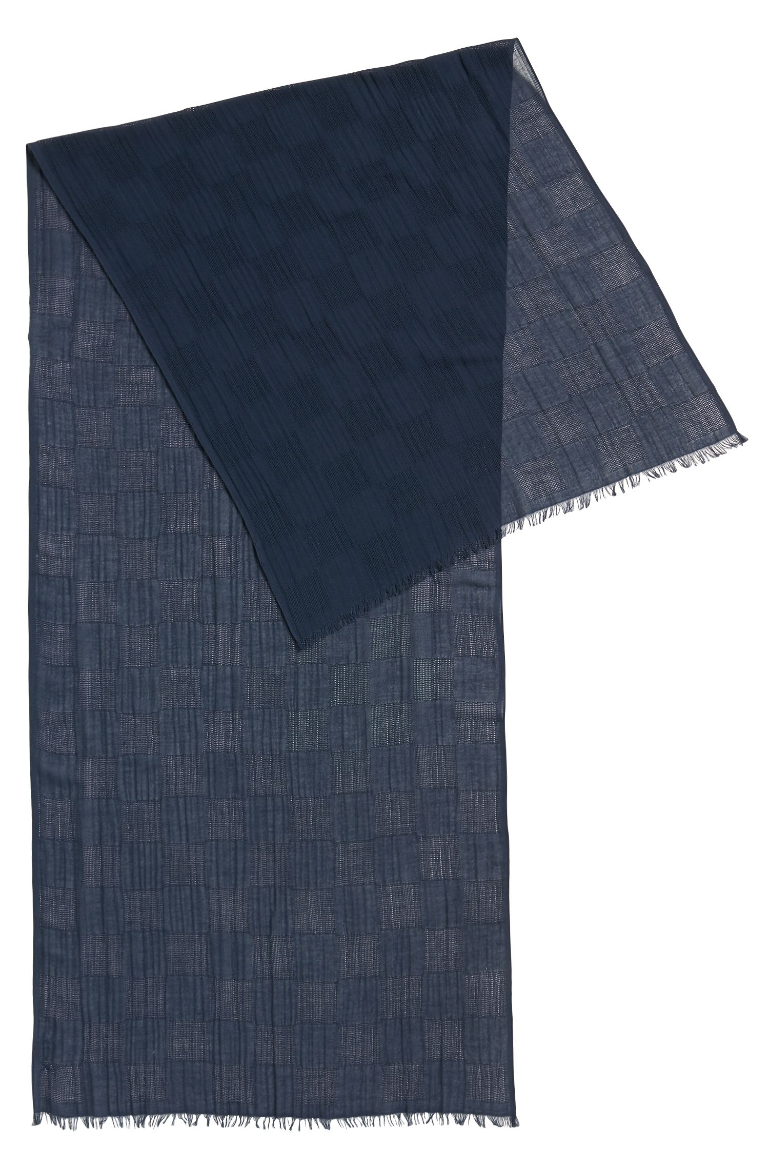 Lightweight cotton scarf in textured check jacquard