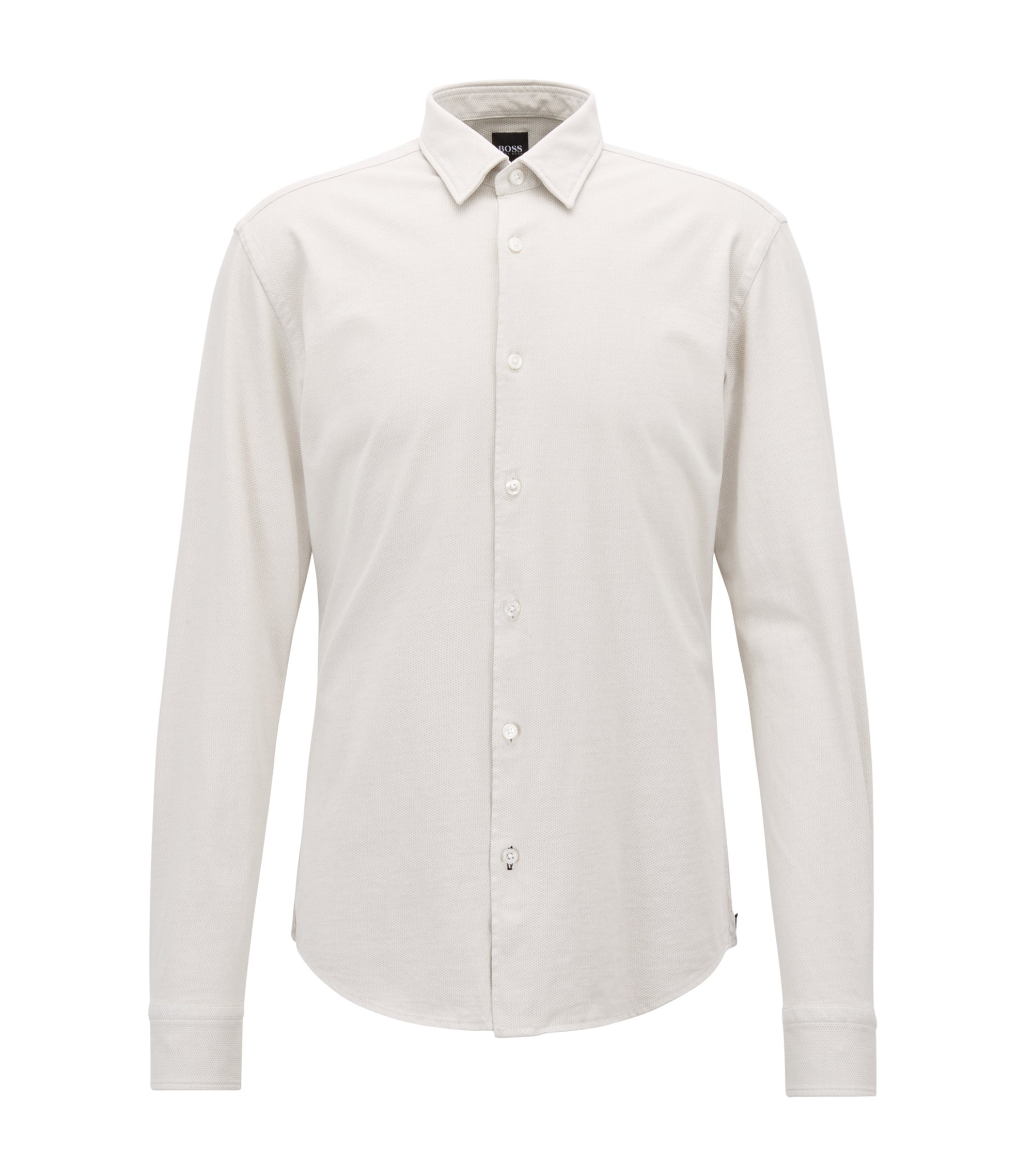 Slim-fit shirt in printed cotton jersey, Natural