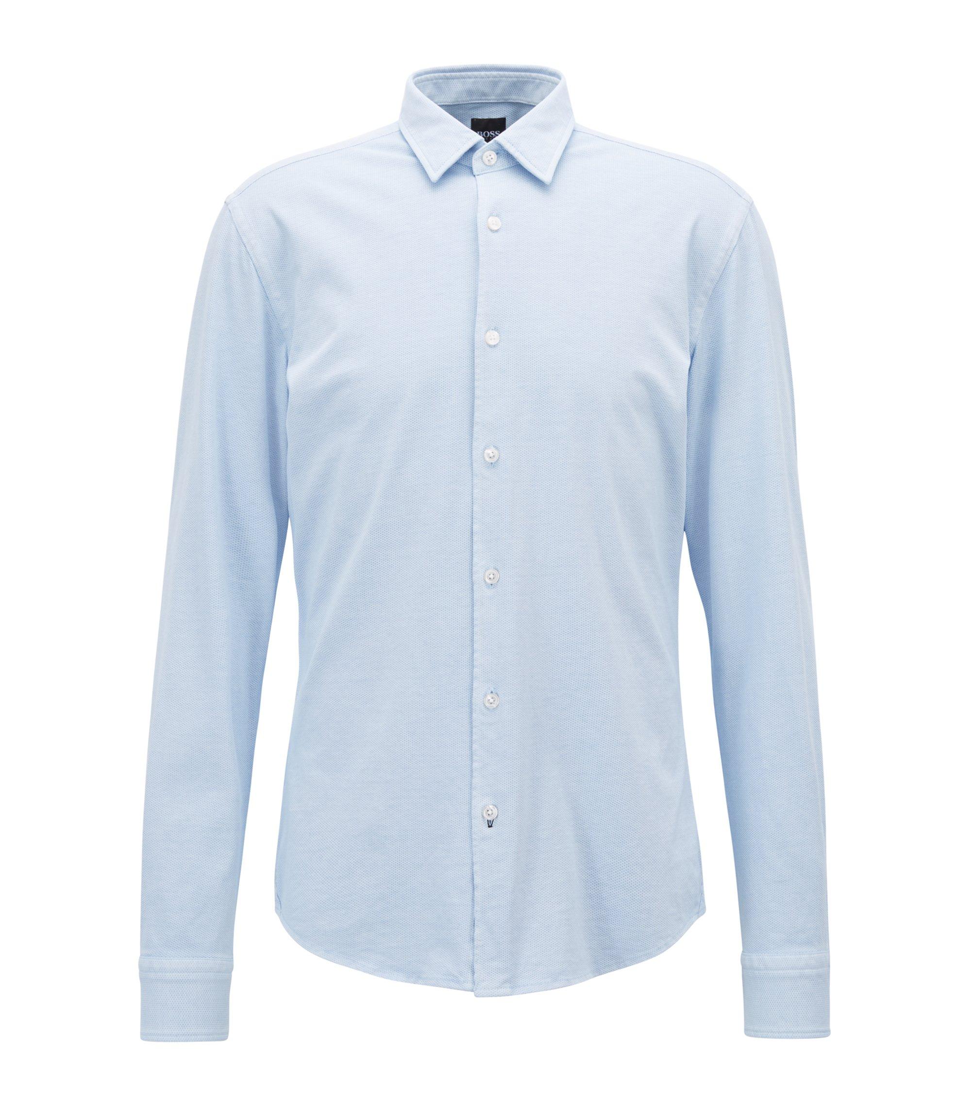 Camisa slim fit en punto de algodón estampado, Azul oscuro