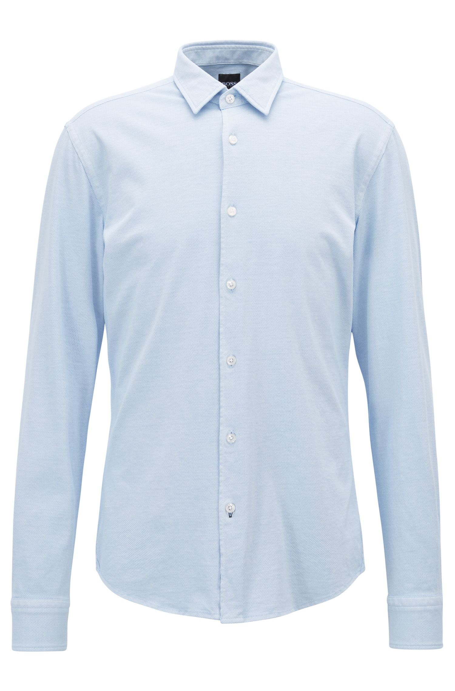 Slim-fit shirt in printed cotton jersey