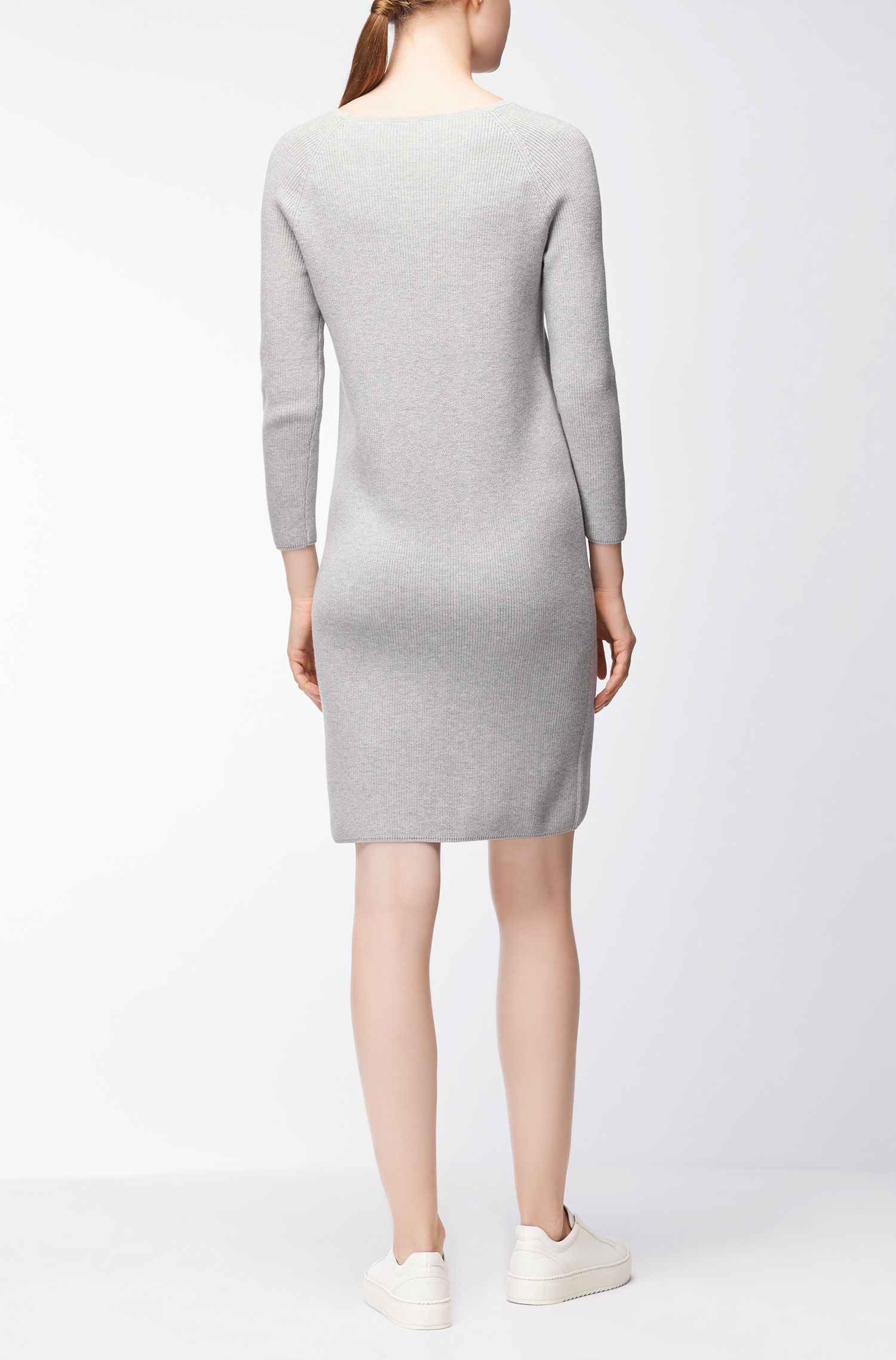 Knitted dress in a ribbed cotton blend