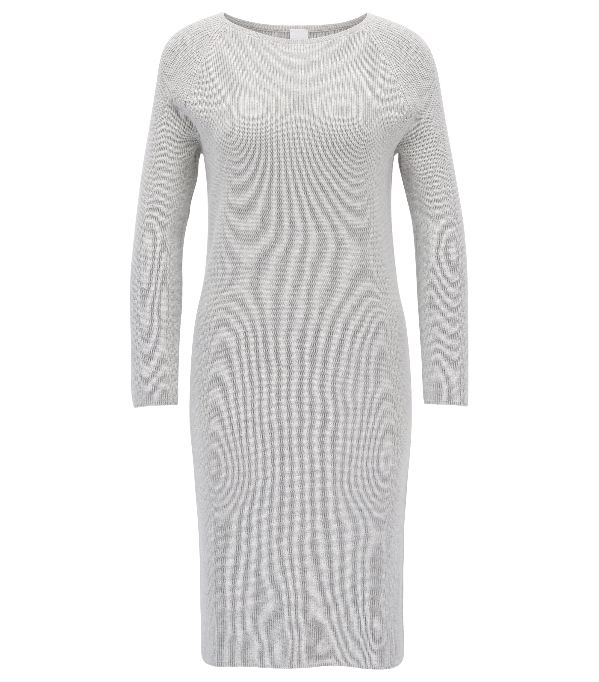 Knitted dress in a ribbed cotton blend, Light Grey