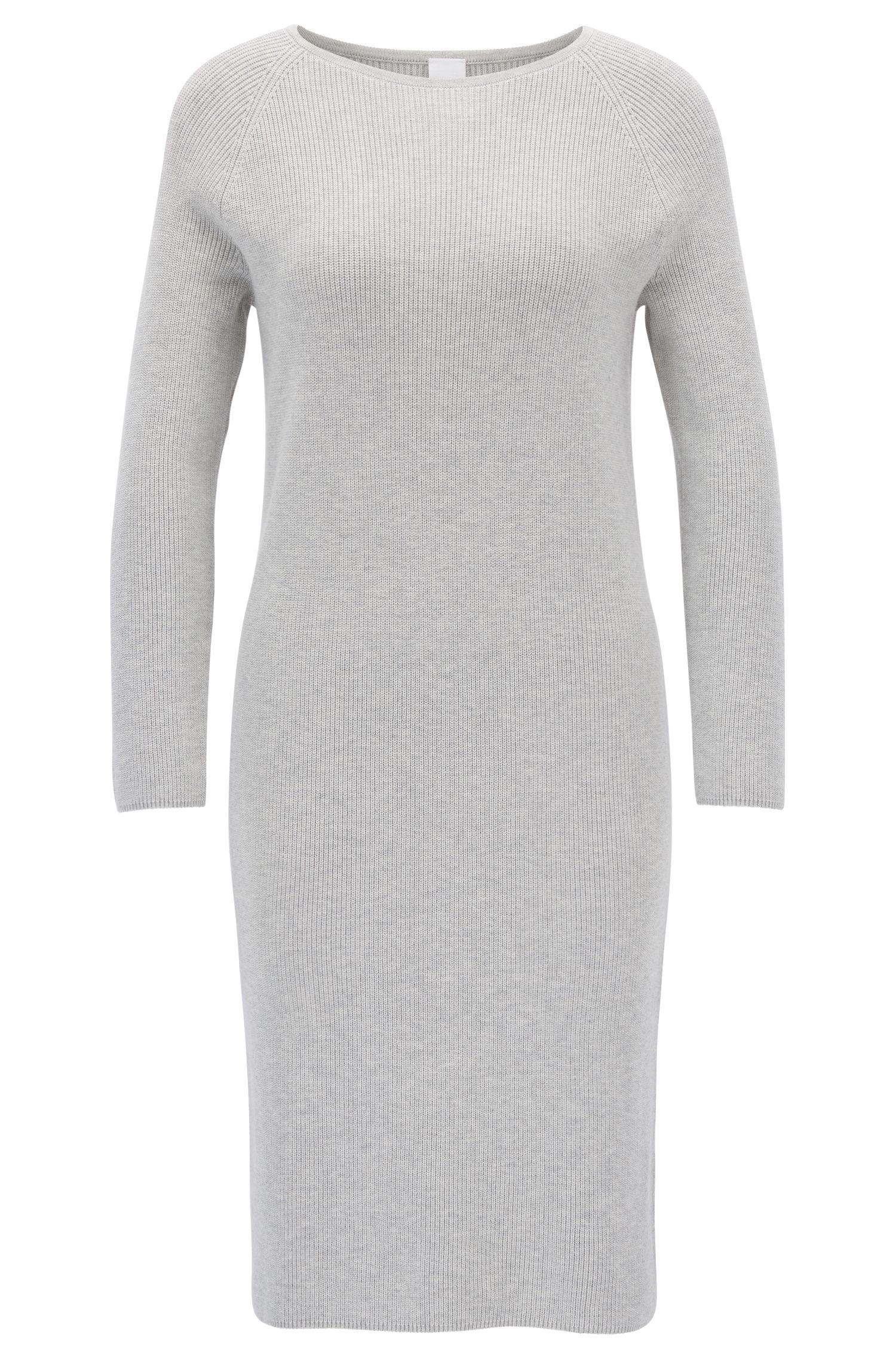 Gebreide jurk in een geribbelde katoenmix