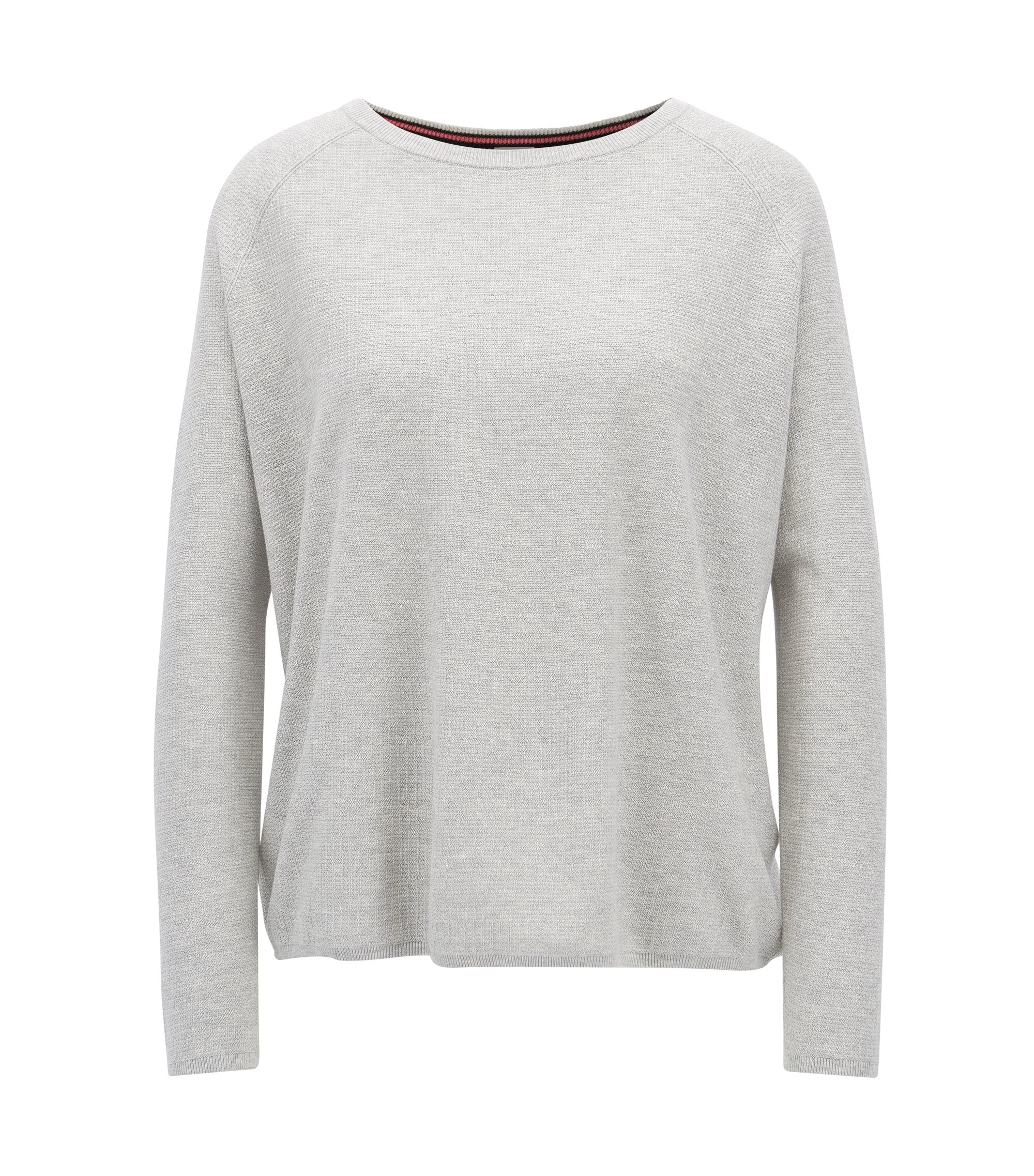 Relaxed-fit sweater in a cotton blend, Light Grey