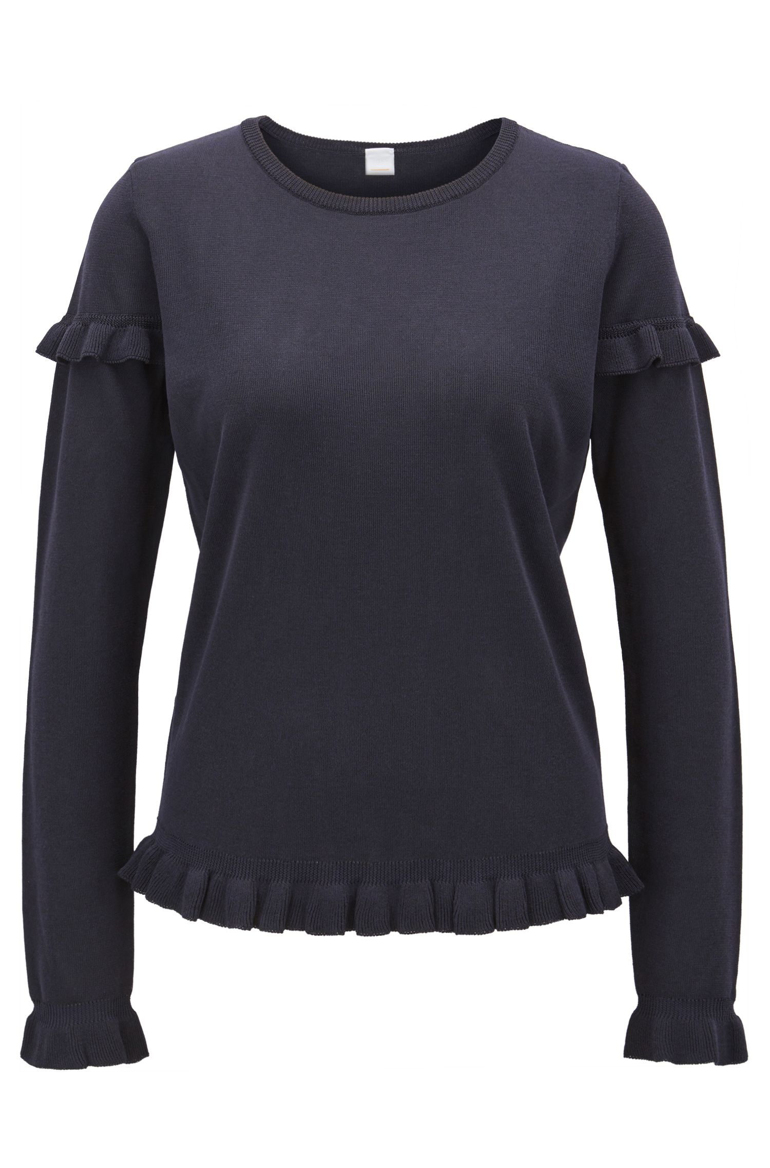 Cropped knitted sweater with ruffle detail, Dark Blue