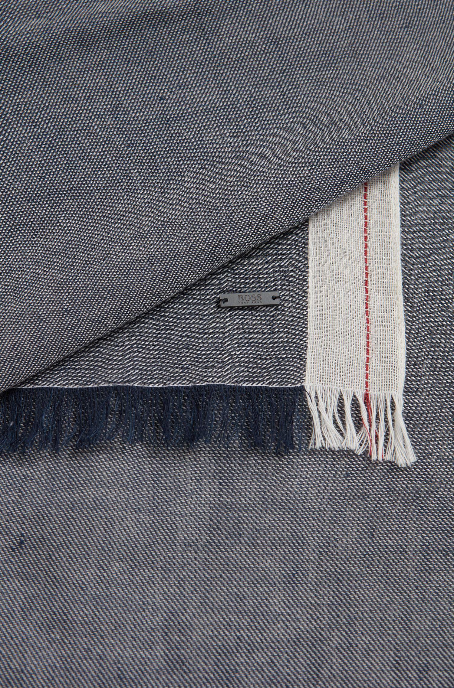 Schal aus Baumwoll-Mix mit Leinen und Streifen-Dessin, Dunkelblau