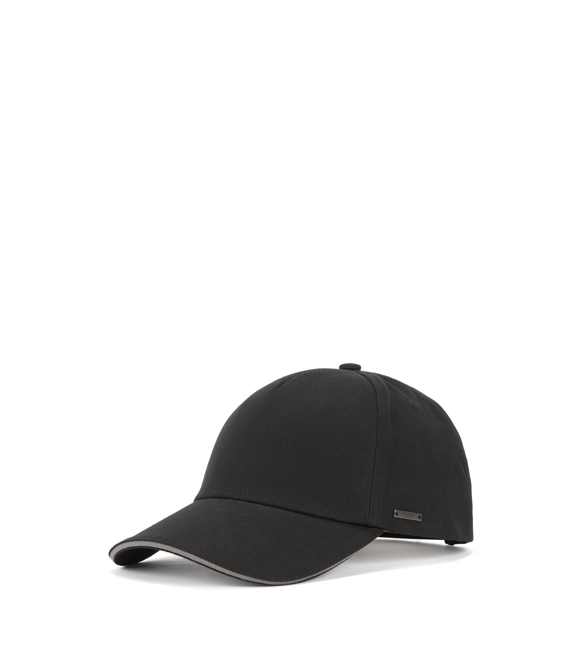 Cotton-canvas cap with contrast trim, Black
