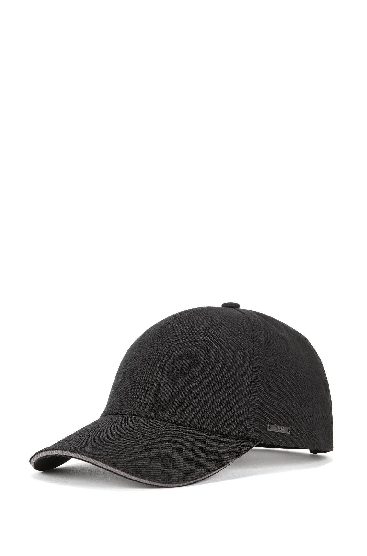 Cappellino in tela di cotone con profilo a contrasto